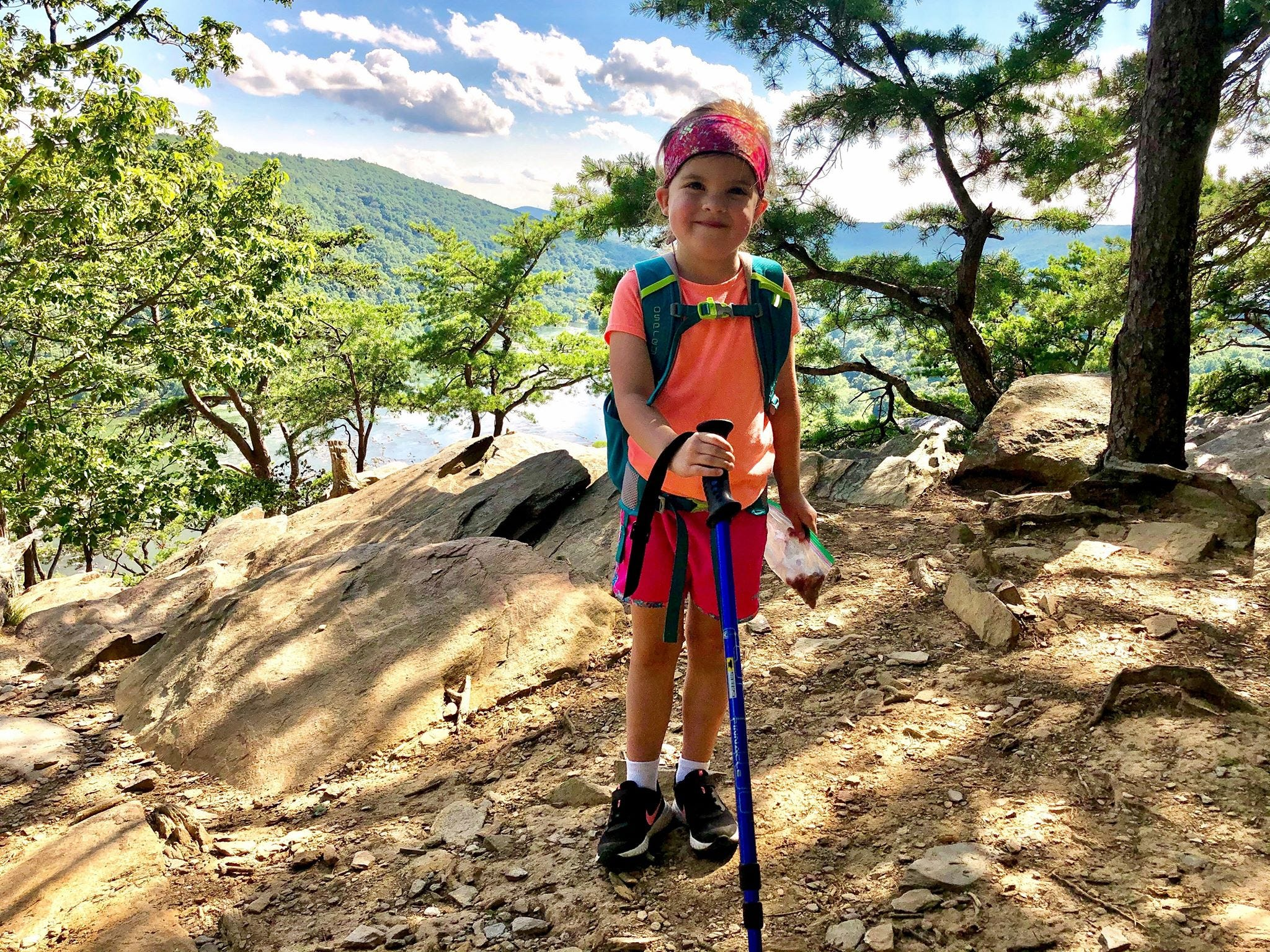 Slide 3 of 16: Julia Hipp, 4, of Williamsport, Md. at Weverton Cliffs on the Appalachian Trail in Maryland.