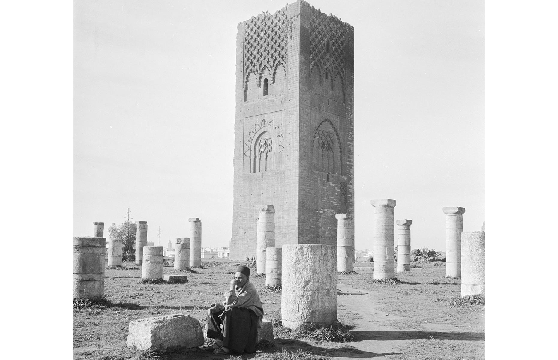 Slide 4 of 31: The Hassan Tower, in Morocco's capital, was an ambitious project dreamt up in the 12th century by Caliph Abu Yusuf Yaqub al-Mansur, who ruled from 1184–99. The caliph was well known for his grandiose building plans and this Rabat tower was to be the mother of them all. It was intended to be part of a titanic mosque – the largest in the world in fact – and it would be the biggest minaret on the planet too. Building began in 1195.