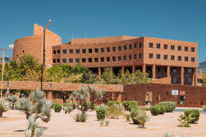 a large brick building with Marrakesh in the background: The Clark County Government Building is seen in this file photo. (Gai Phanalasy/FOX5)