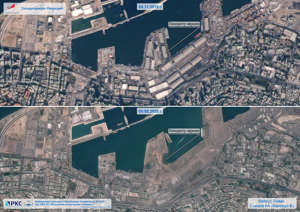 A combination of satellite images shows the area, which was heavily damaged by a massive explosion and a blast wave, on August 5, 2020 and the same area on November 4, 2019 in Beirut, Lebanon. Russian space agency Roscosmos/Handout via REUTERS  ATTENTION EDITORS - THIS IMAGE HAS BEEN SUPPLIED BY A THIRD PARTY. MANDATORY CREDIT. PICTURE WATERMARKED AT SOURCE.