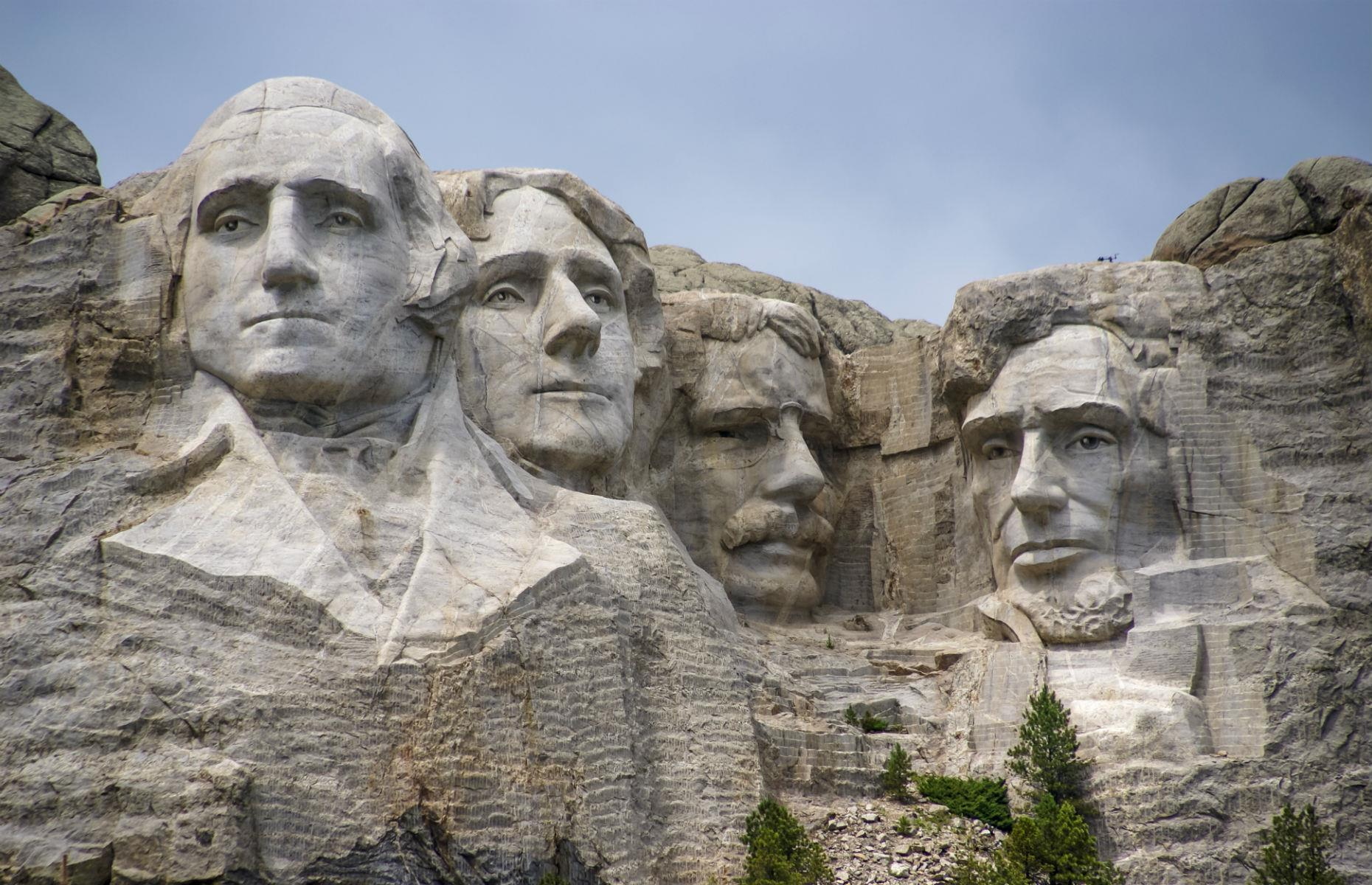 Slide 18 of 45: The Mount Rushmore National Memorial is one of the USA's most recognizable sights, with the 60-feet-tall (18m) faces of four legendary American presidents carved into granite. But there's more to this monument than meets the eye.