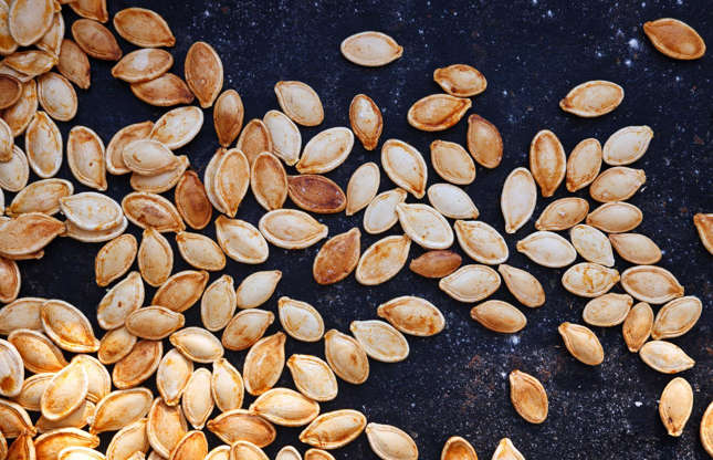 Slide 16 of 25: Next time you're scraping out a pumpkin to make soup, set aside the seeds. These versatile kernels can be washed, dried then roasted with your favorite herbs and spices. Paprika and chili or rosemary and oregano are both great combinations. Give it a try and experiment with different flavors.