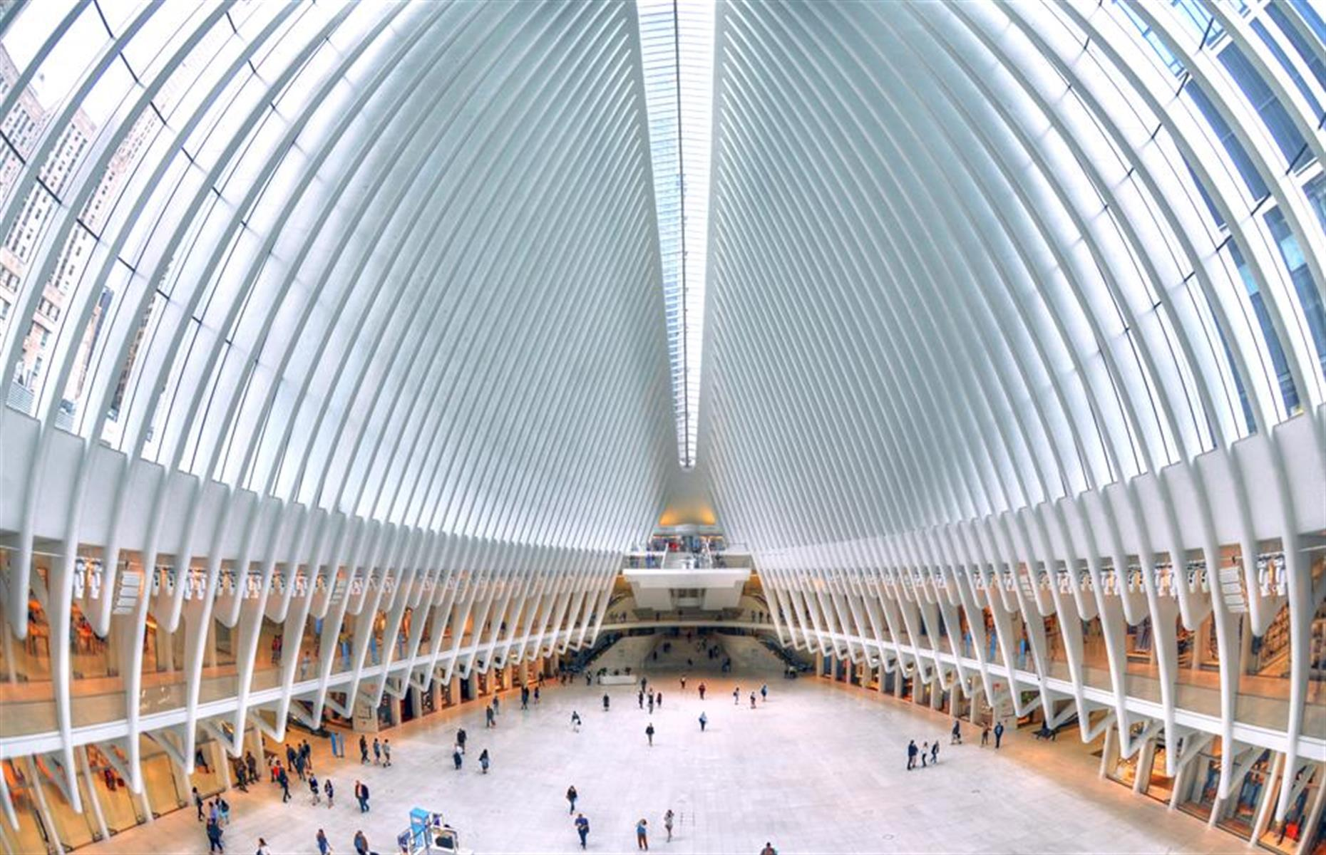 Slide 6 of 33: The light-filled cavernous centerpiece of this mall, known as the Oculus, was inspired by the image of a dove being released from a child's hands. Spanish architect Santiago Calatrava designed it as part of the 365,000-square-foot (33,909sqm) shopping area in the World Trade Center complex. Poignantly, the Neo-Futuristic structure was designed so that every 11 September at 10.28am the sun shines directly through the central skylight to create a symmetrical shaft of light.