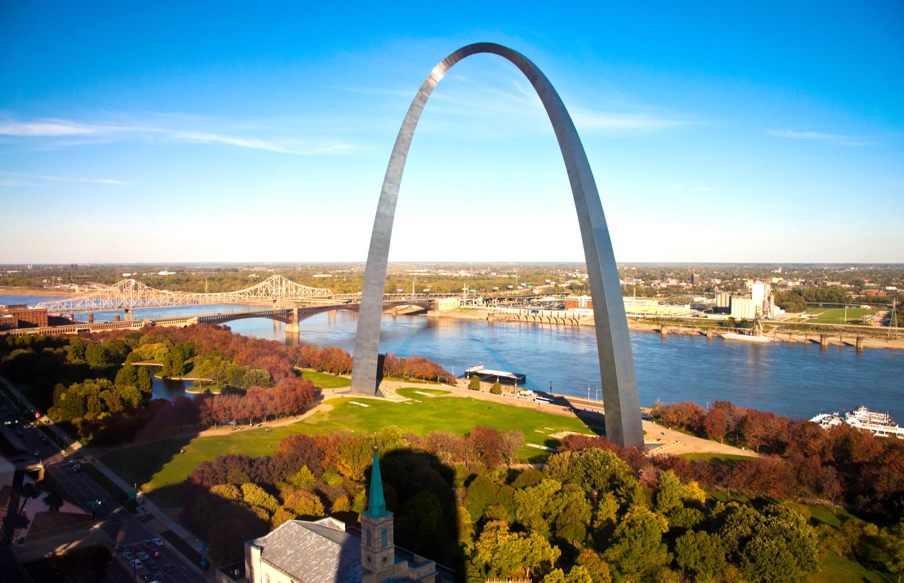 Slide 6 of 31: You can't miss this mammoth arch presiding over St Louis' waterfront – in fact, it's the tallest man-made structure in the States. But this giant is not without its secrets. It's said that, before the crucial keystone was hauled into place in the 1960s, a time capsule was welded into it. The capsule purportedly contains the signatures of more than 760,000 residents, as well as other unidentified items.