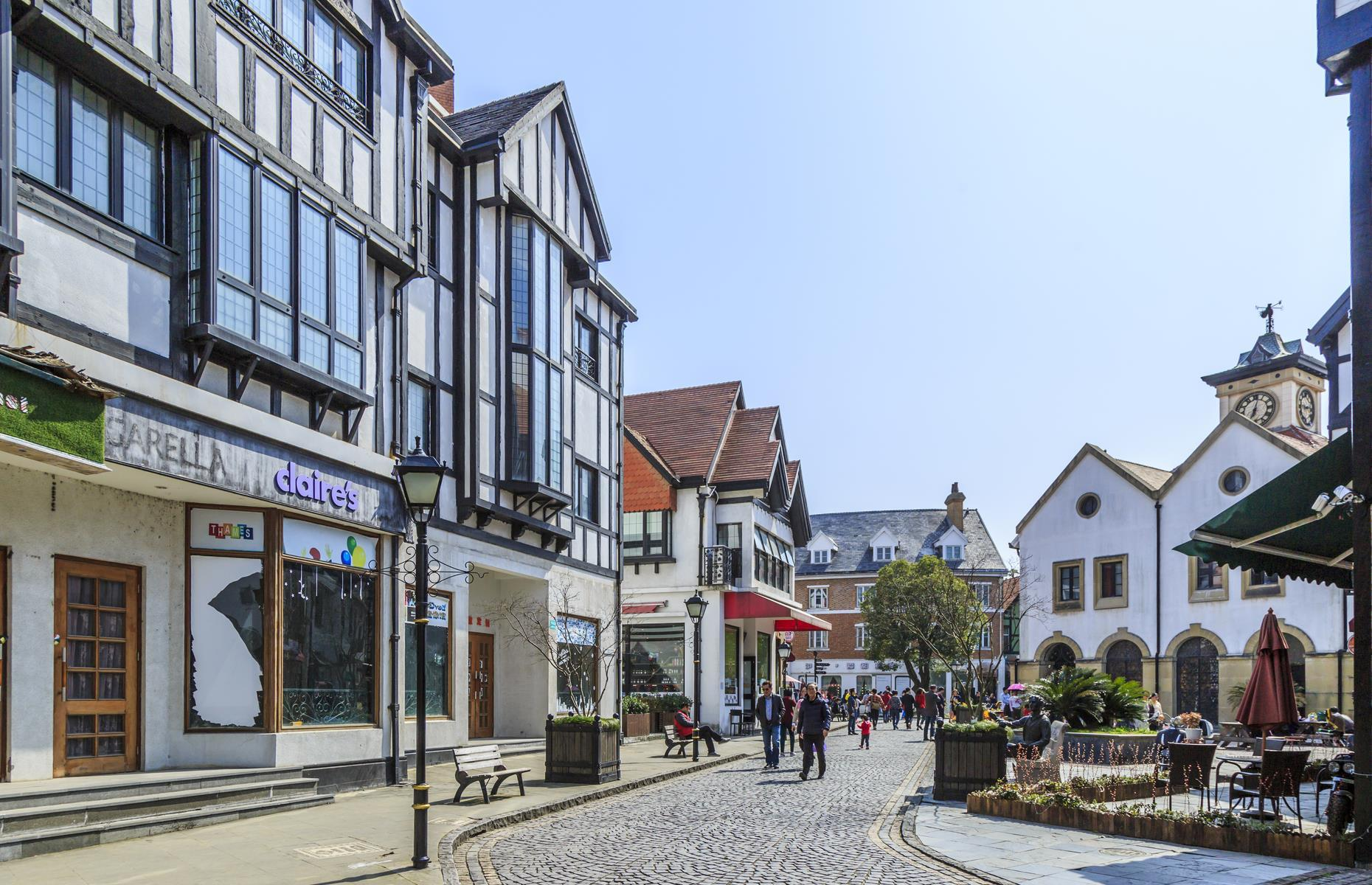 Slide 25 of 37: Complete with red telephone boxes, cobbled streets and even a Gothic church, Chinese Thames Town (pictured here) reportedly cost $330 millionto build. Today, economic problems mean it's largely deserted although it's a popular location for newlyweds wanting unusual wedding snaps.