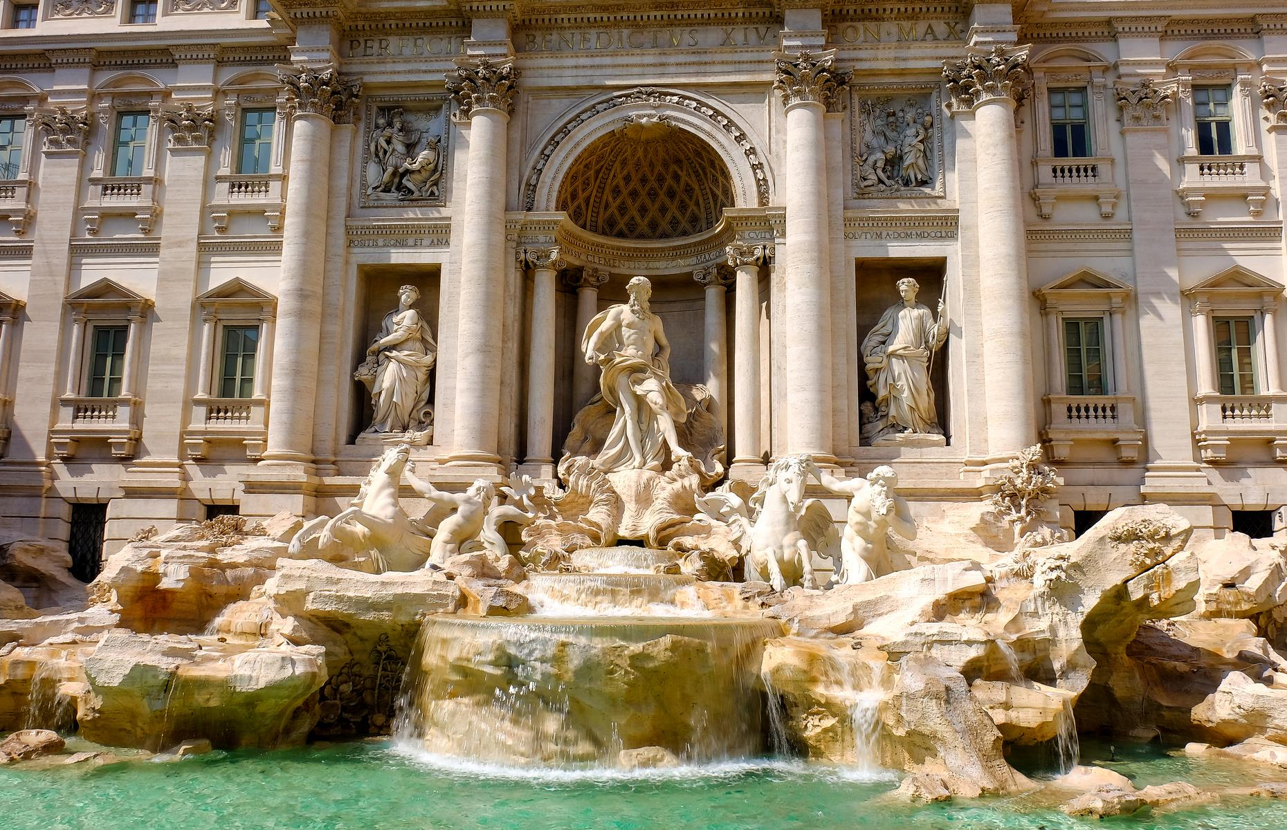 Slide 4 of 37: Known as one of the most beautiful fountains in Rome, the Trevi Fountain measures alofty 85 feet (26m)tall and 65 feet (20m) wide. Although thefountain was actuallycommissionedin 1629, construction didn't start until 1732 and it took around 30 years to finish. Millions of tourists usually flock to the fountain every year, and legend has it, throwing a coin into the water with your back turned will ensure you'll return to the city.