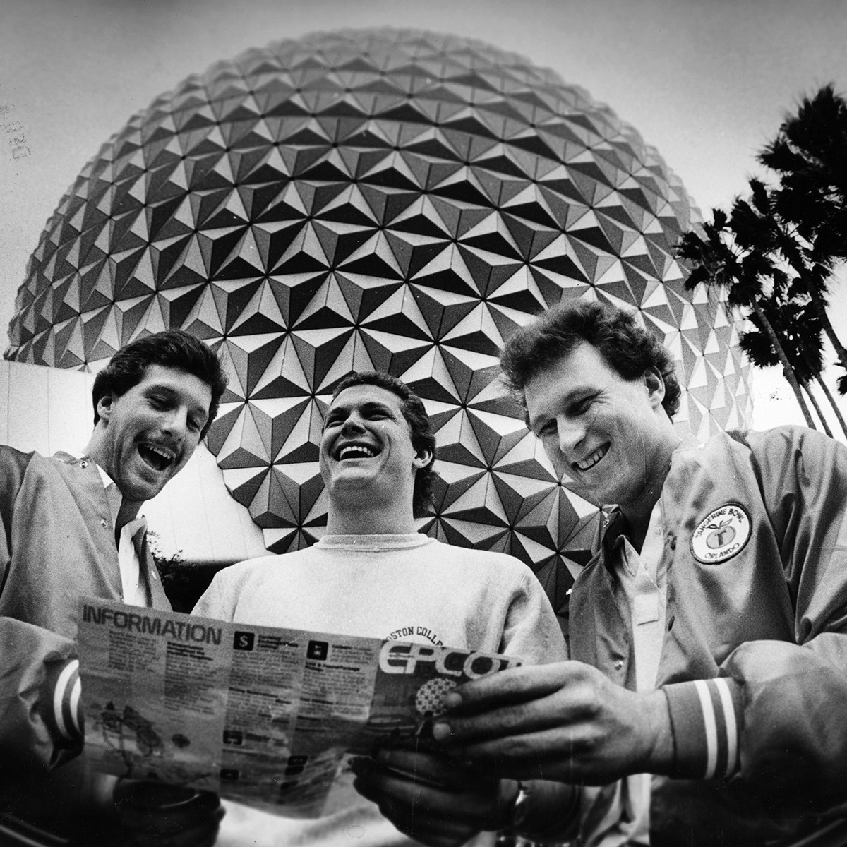 Slide 8 of 19: The Disney parks are enjoyed by all ages—even college students! This group exploring EPCOT was part of theBoston College football team in town for the Tangerine Bowl.
