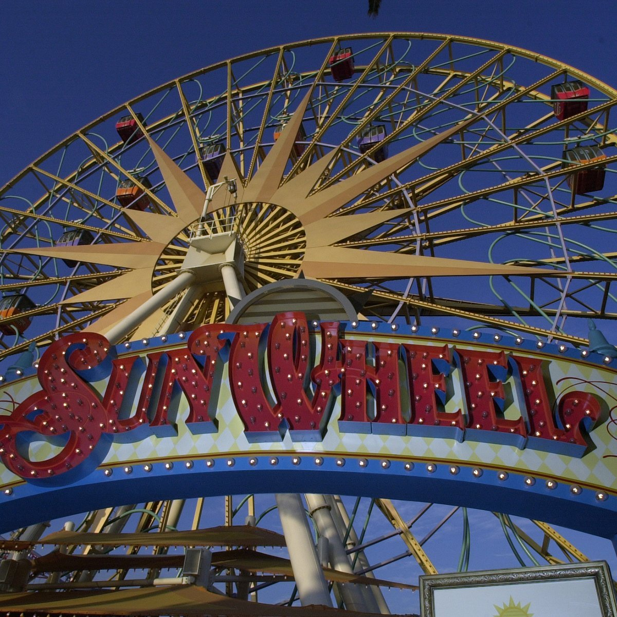Slide 13 of 19: Disneyland's sister park, California Adventure, made its debut on February 8, 2001. Since then, the park has undergone several transformations—including a rebranding of the Sun Wheel seen here to Mickey's Fun Wheel in 2009.