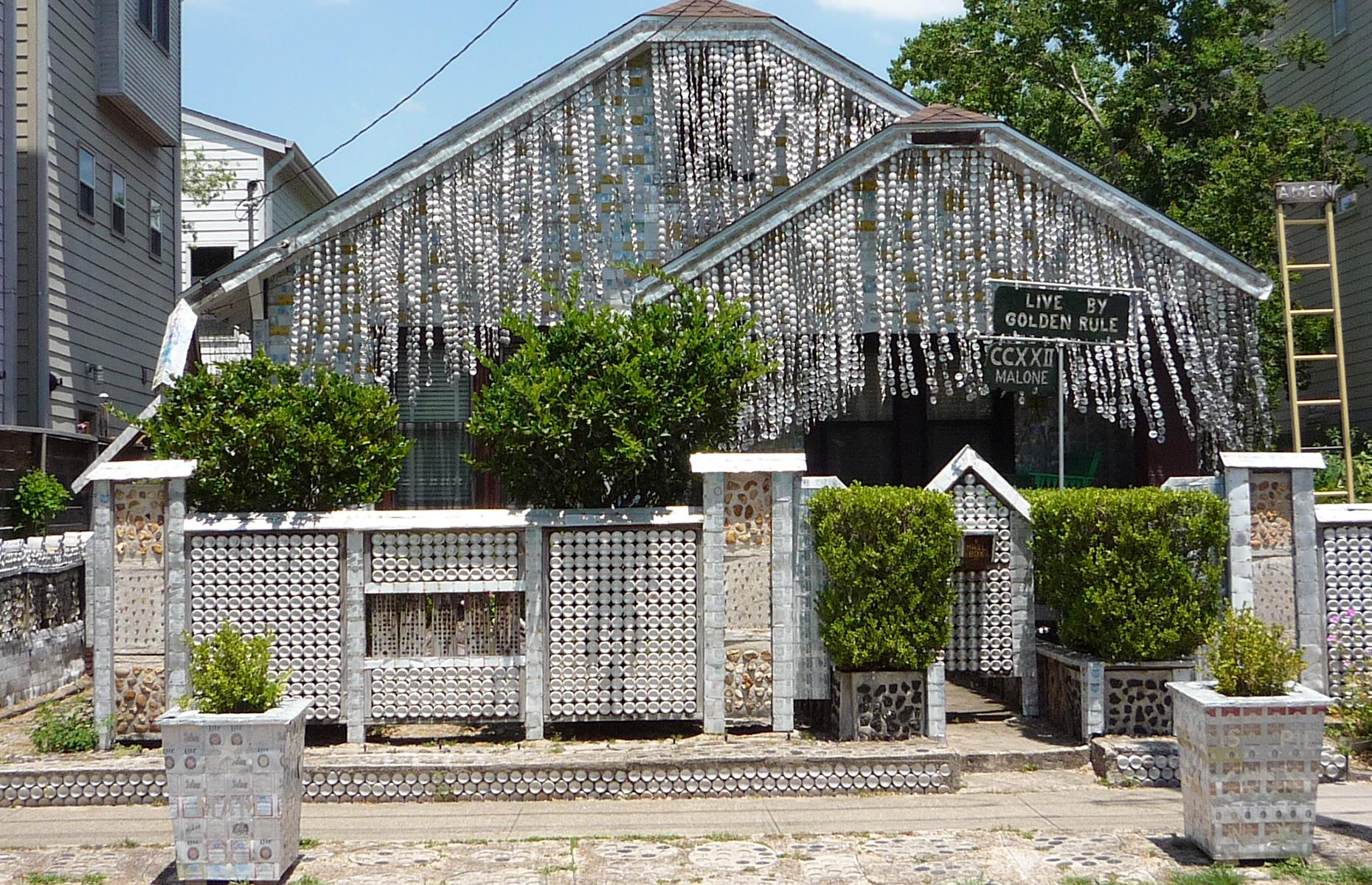Slide 4 of 37: Flattened to the walls, hanging from the porch, decorating the front gate – beer cans, more than 50,000 in total, cover this Houston house. It's the vision of John Milkovisch, who began bedecking his family home with beer cans back in the 1960s. Though he abhorred waste, straight-talking, beer-loving Milkovisch insisted that his work was for no greater purpose than simple enjoyment. Now, both Milkovisch and his wife have passed away but the house is usually open to the public for tours.