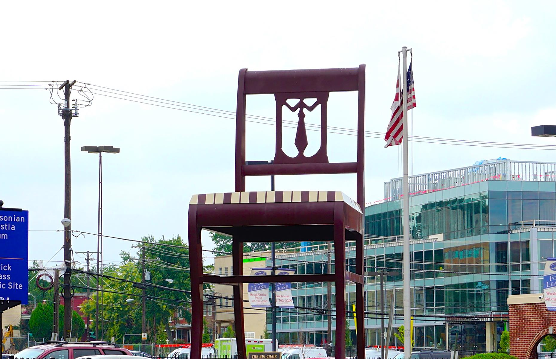 Slide 34 of 37: This larger-than-life pew is for peering at rather than perching on. You'll find it in DC's Anacostia neighborhood, towering at almost 20 feet (6m). It was the world's largest chair when it was built in 1959. At the time it was a marketing ploy for Curtis Brown's Furniture company and today, the aluminum replica of the landmark remains a symbol of commercial success and industry. Discover the most stunning statues and sculptures in the world.