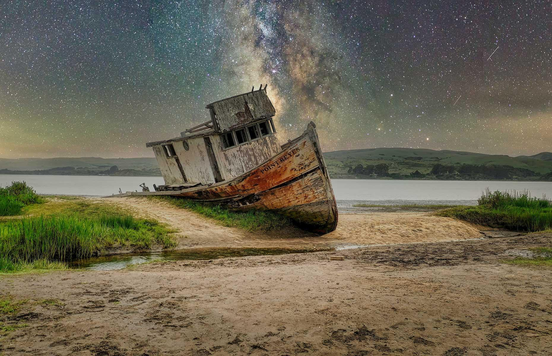 Slide 33 of 35: Located in Tomales Bay this is another shipwreck that's beloved by photographers, with the best shots taken during low tide. Here the wreck is captured at night by professional photographer Cameron Venti, flanked by the Milky Way. But its popularity also means it's under threat – in 2016 a fire damaged the rear of the ship and the exterior and interior have been graffitied too. Love this? Now discover the abandoned hotels, resorts and airports that are frozen in time.