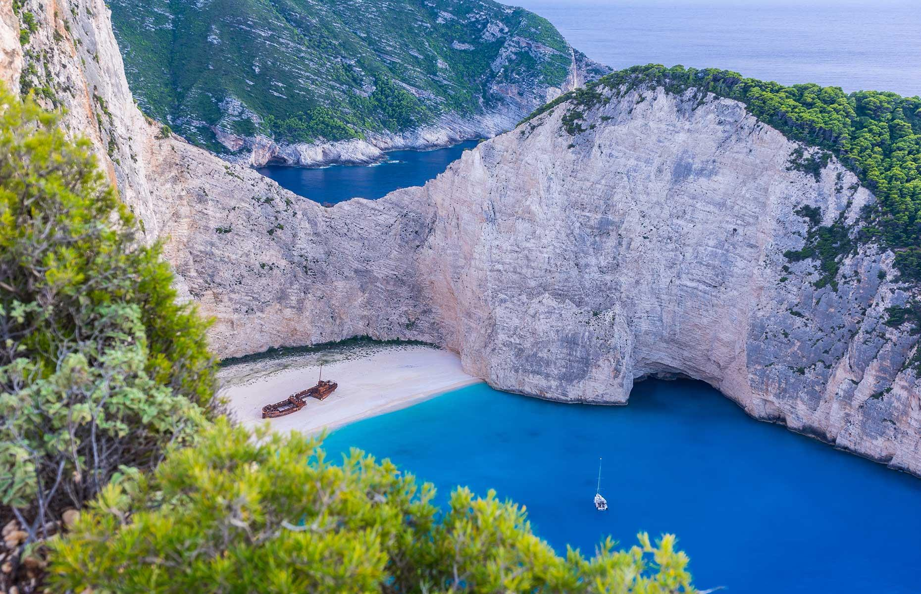 "Slide 12 of 35: The MV Panagiotis, on the coast of Zakynthos in Greece, is a major tourist attraction, not just for its well-preserved condition, but also for its idyllic location on Navagio Beach, or ""Shipwreck Beach"" on the island's northwestern coast."