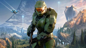 a man in a uniform with a mountain in the background: Halo Infinite
