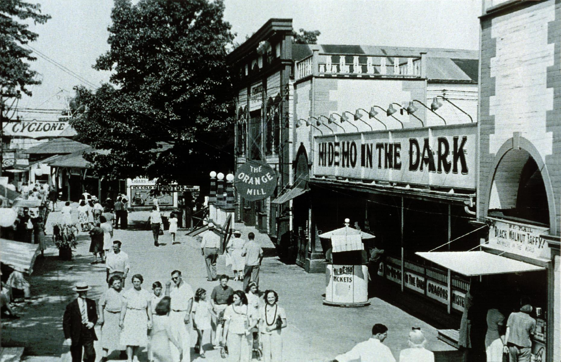 Slide 13 of 35: The park, with its sought-after location on the shores of Lake Erie, went from strength to strength through the 20th century. A favorite attraction throughout the late 1930s and 1940s was Hi De Ho In The Dark, a kitsch fun house filled with mirrors.