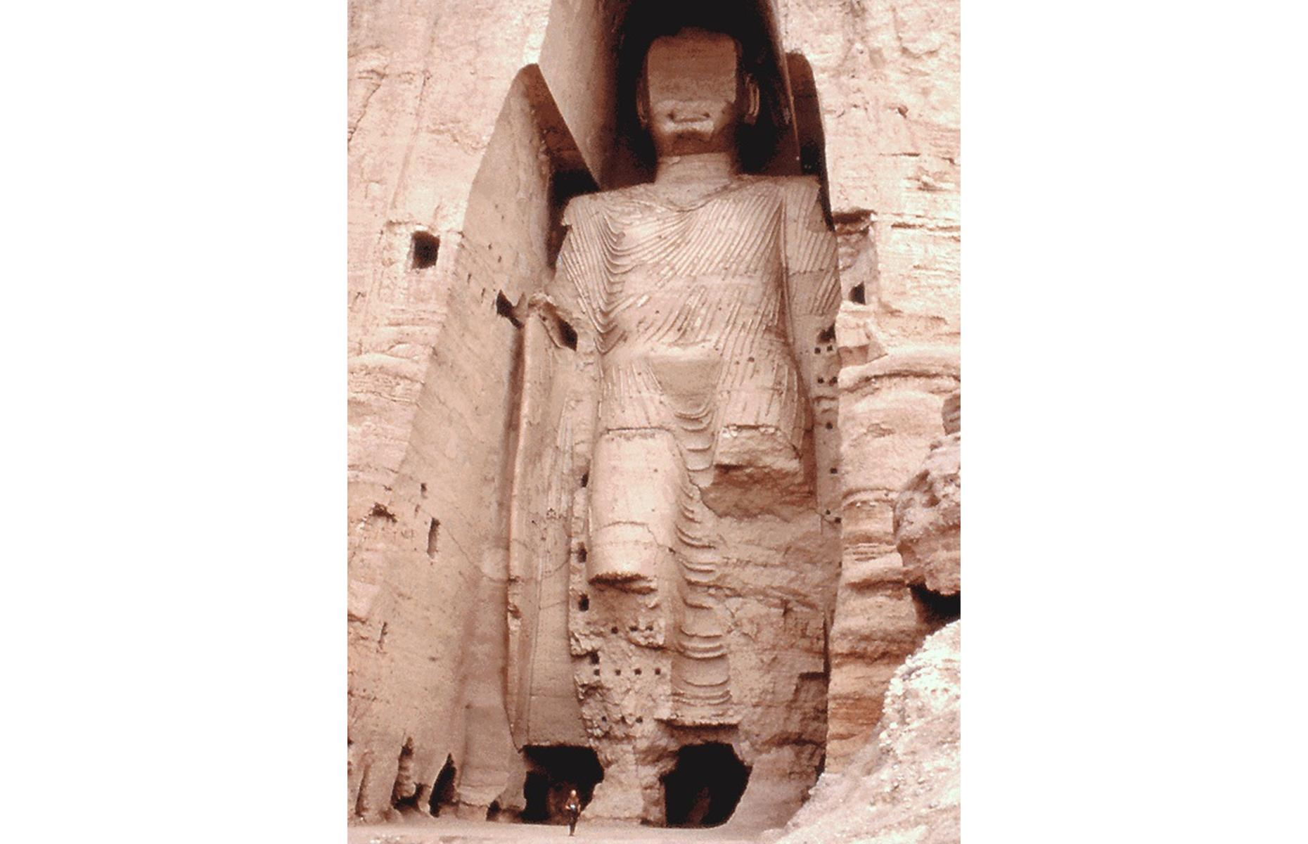 Slide 4 of 39: Two mammoth Buddha statues – the tallest in the world, in fact – once looked out from a sandstone cliffside in Bamiyan. They were carved in the 6th century, with the tallest topping out at 180 feet (55m). But, in 2001, these Buddhist effigies were destroyed by the Taliban.