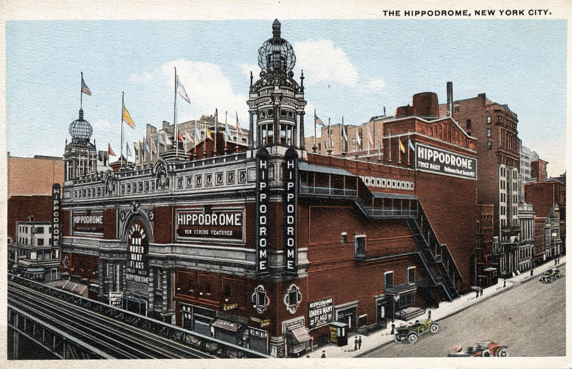 Slide 22 of 39: If you had walked down to 1120 6th Avenue in New York 100 years ago, you'd have been greeted by the sight of this spectacular theater. The giant 5,697-seat Hippodrome was the brainchild of entrepreneurs Frederick Thompson and Elmer Scipio Dundy, who enticed new middle-class customers with lower ticket prices and made theater accessible for all.