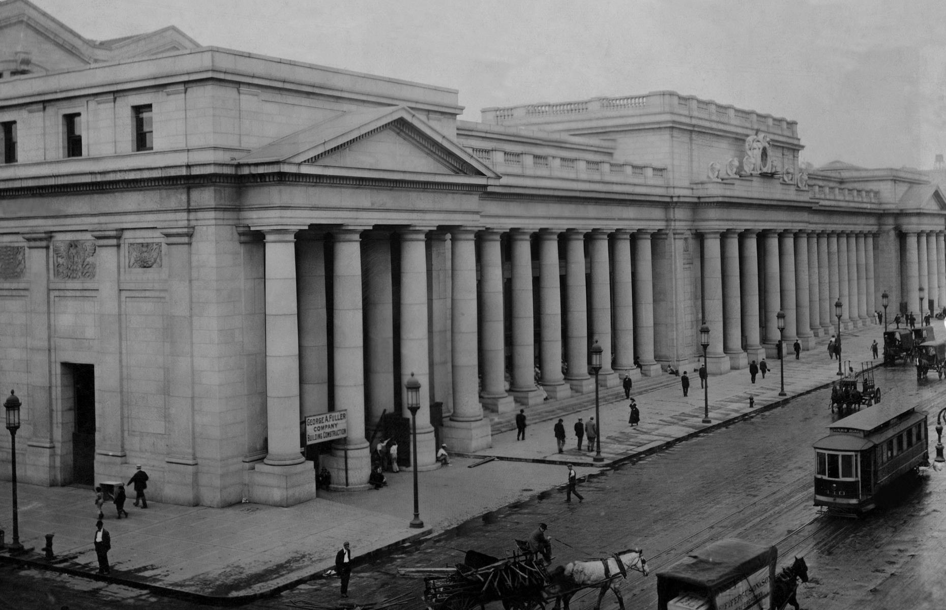 Slide 32 of 39: The former Penn Station, opened in 1910, was a striking sight: designed in the Beaux Arts style, it featured pink granite, vaulted glass windows, giant stone pillars and archways. Unfortunately, like many grand buildings, it cost a hefty sum to maintain, so in 1962 it was demolished – despite the backlash from many New Yorkers.