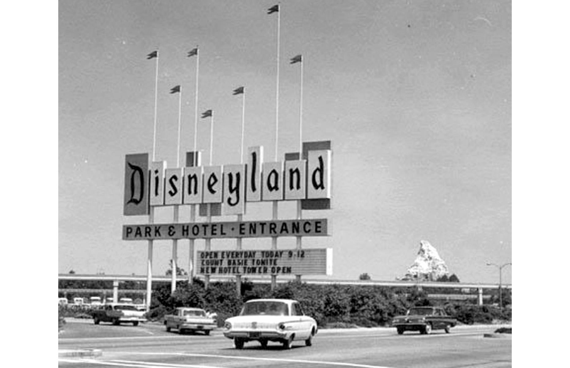 Slide 11 of 38: This sign, erected in 1958, would become synonymous with California's Disneyland, proudly greeting guests as they entered the park. After more than three decades on display, the classic sign was finally replaced with an electronic version in 1989. Today it remains a nostalgic symbol of the park's early days.