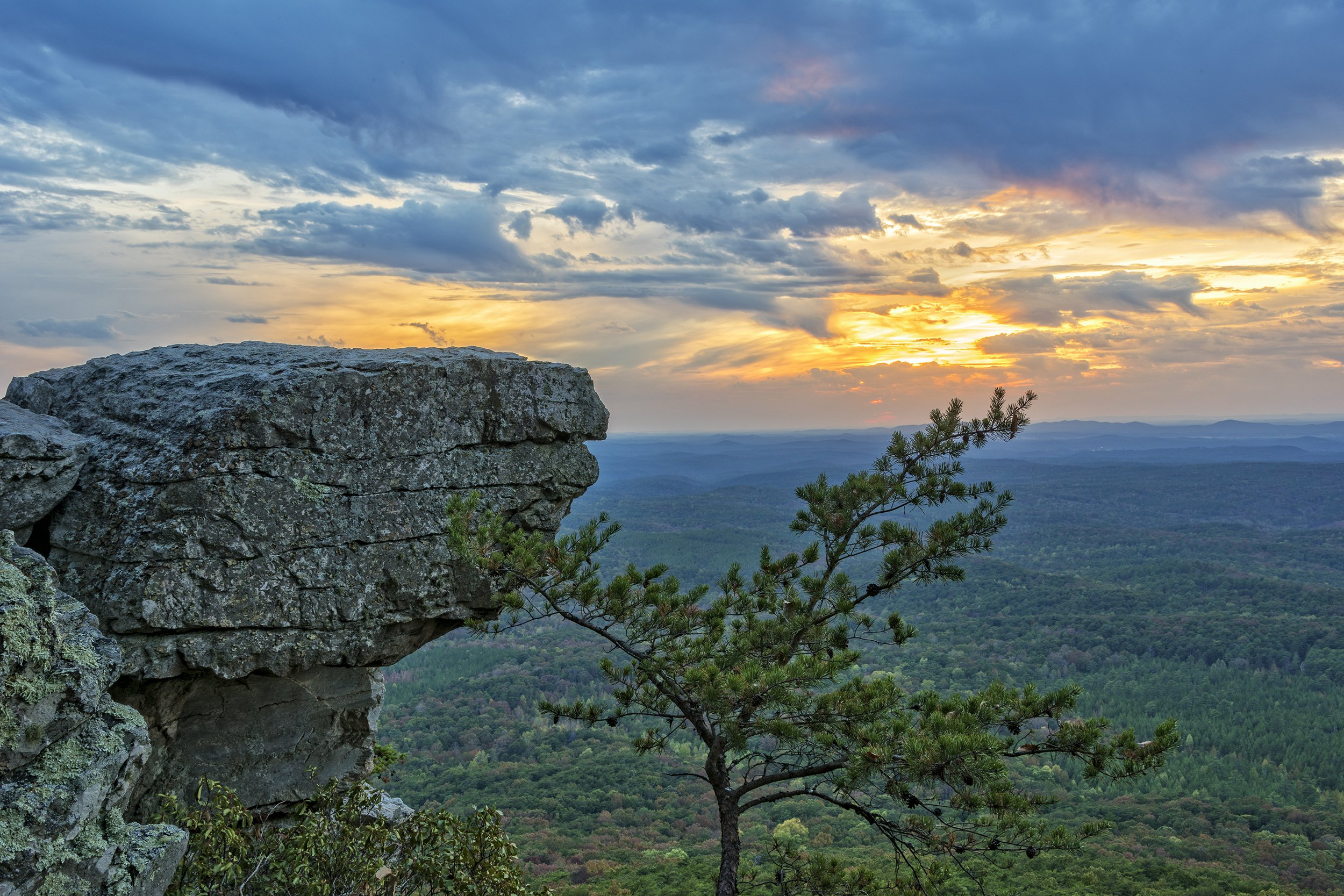 Slide 2 of 52:  Where: Cheaha State Park Distance: 2.3-mile loop Must see: Wander along the streambank to the Rock Garden Outlook, where you'll enjoy breathtaking views of the Talladega National Forest.