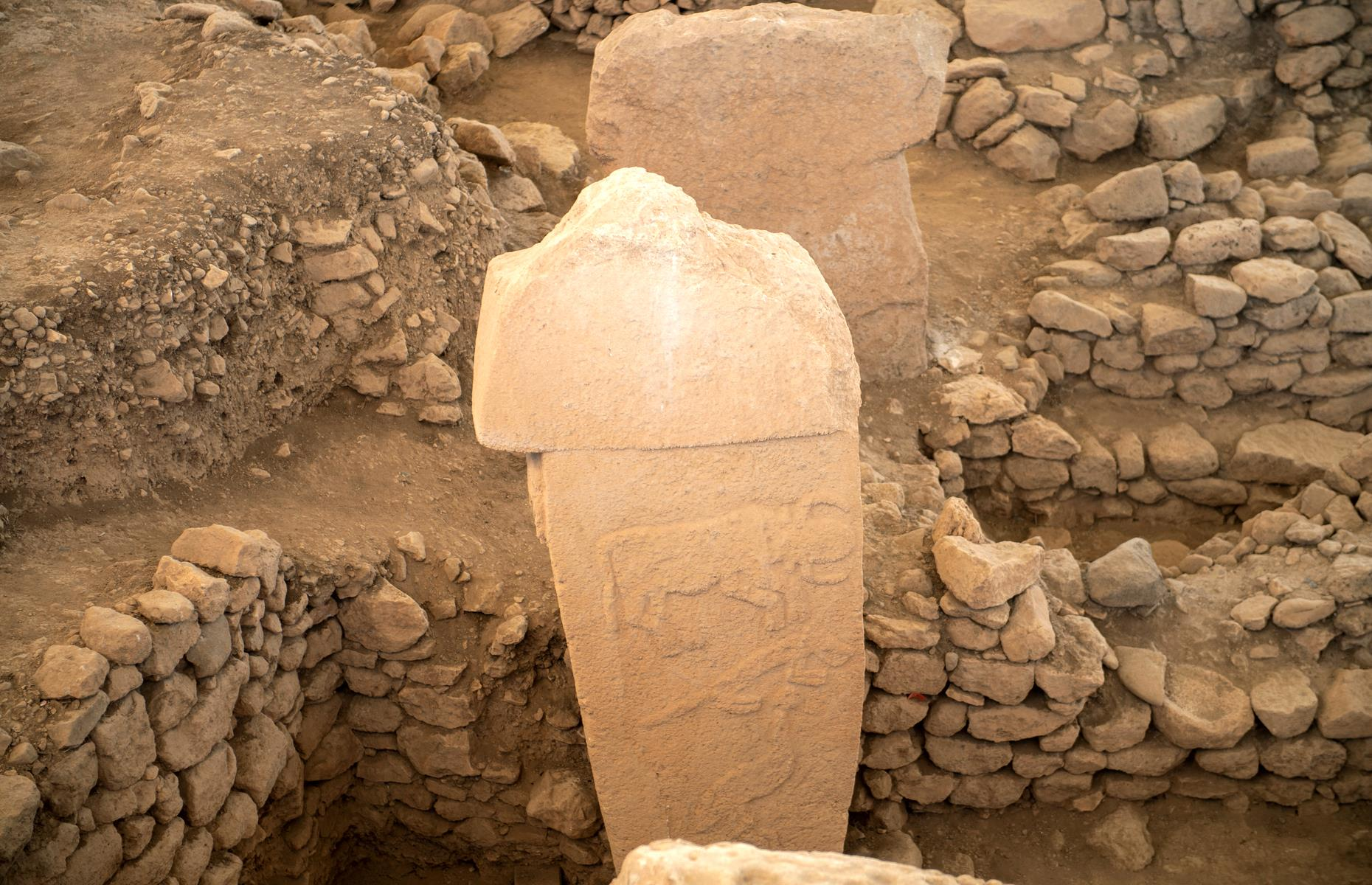 Slide 33 of 50: In 2017, experts from the University of Edinburgh made an exciting breakthrough. After studying the carvings on Göbekli Tepe's stone pillars, they uncovered evidence that a comet struck Earth in 11,000 BC. Markings on a pillar nicknamed the 'Vulture Stone' turned out to be astronomical symbols that related to the comet and the constellations over the site at the time. Scientists then used technology to recreate the constellations, and nail down the exact time of the comet. The comet had great significance for this ancient community since it was linked to the start of a mini ice-age, which would deeply impact its people for years to come.