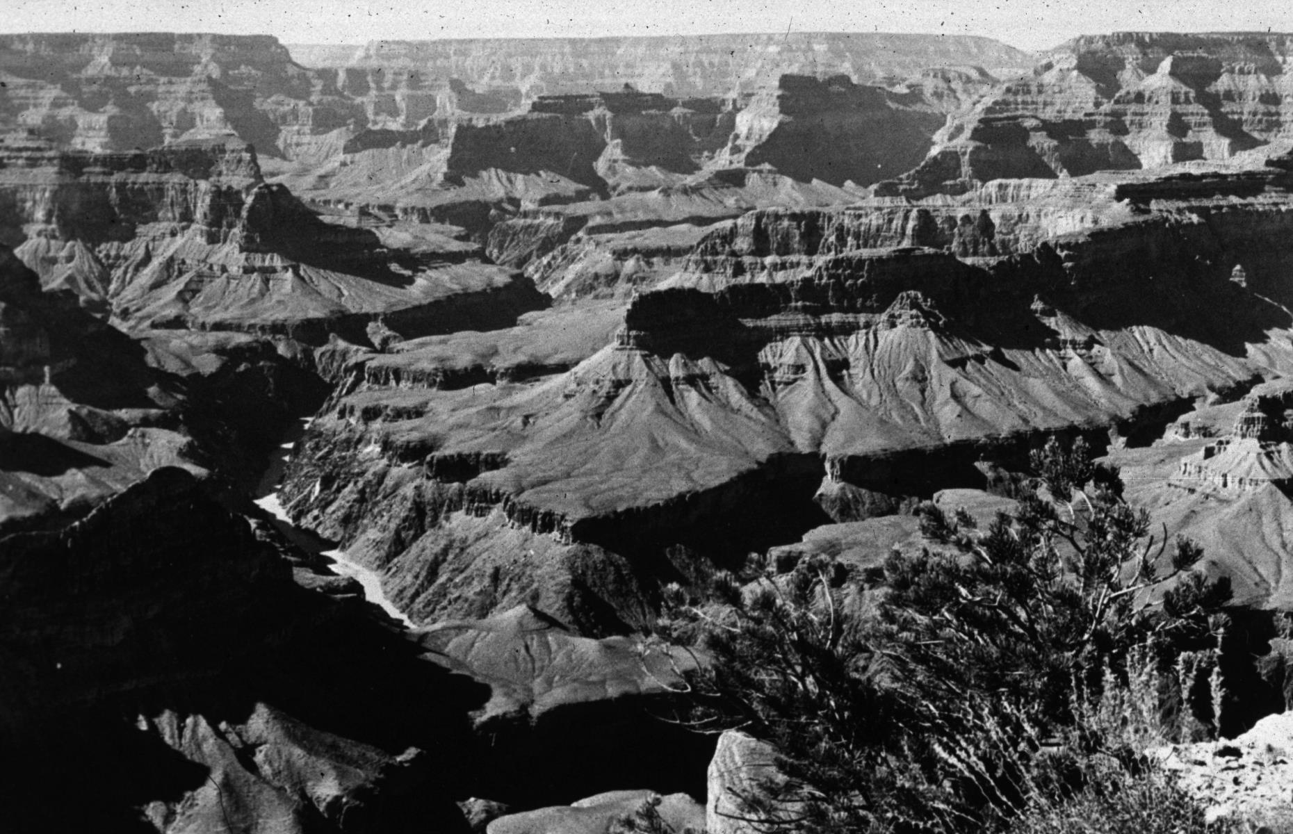 Slide 8 of 47: Though the jaw-dropping Grand Canyon was carved out by the Colorado River over millennia, it's been a US National Park for a little over 100 years, celebrating its centenary in 2019. The enormous canyon plunges to around 6,000 feet (1,829m) at its deepest point, drawing visitors with its striking red formations and seemingly endless vistas. It's pictured here in all its glory circa 1940.