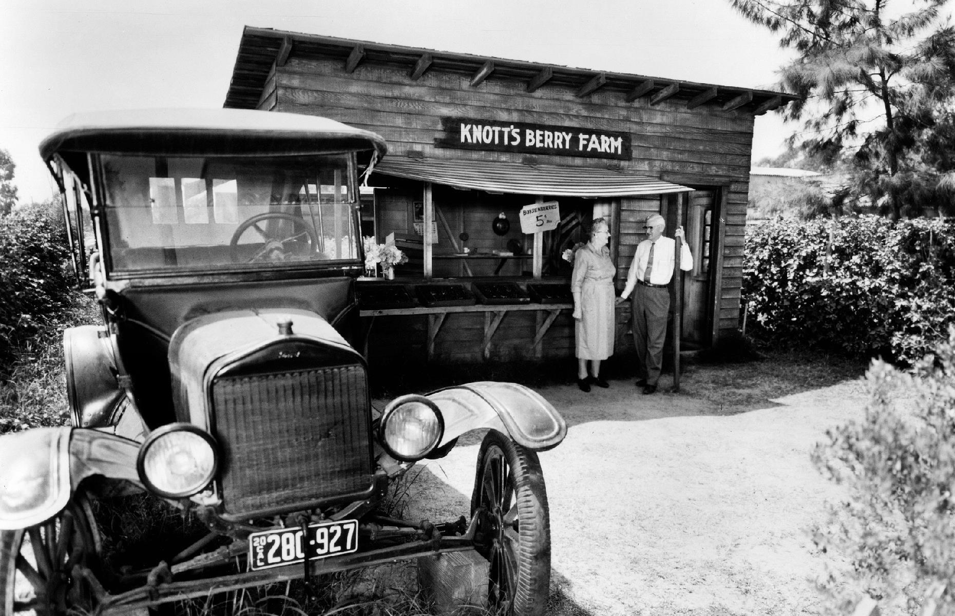 Slide 31 of 47: Knott's Berry Farm, a wholesome, family-friendly theme park just over 20 miles (32km) from LA, began life as a berry farm. Walter and Cordelia Knott (pictured), who purchased the land in the 1920s, made their living from growing boysenberries and selling them at a humble roadside stand. Before long, their simple berry business was drawing in the crowds.