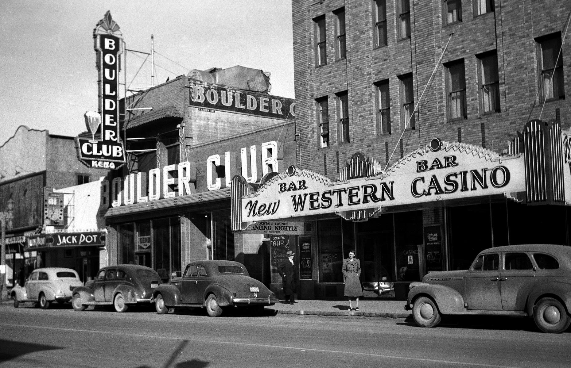 Slide 22 of 47: An iconic venue of the day was Boulder Club (pictured), a glittering casino that was one of the earliest spots to get a gambling license in the 1930s. It sadly burned down in 1956. While Fremont Street is now overshadowed by The Strip, you can still find plenty of live music venues and restaurants Downtown, not to mention SlotZilla, an enormous slot-machine-themed zip line.
