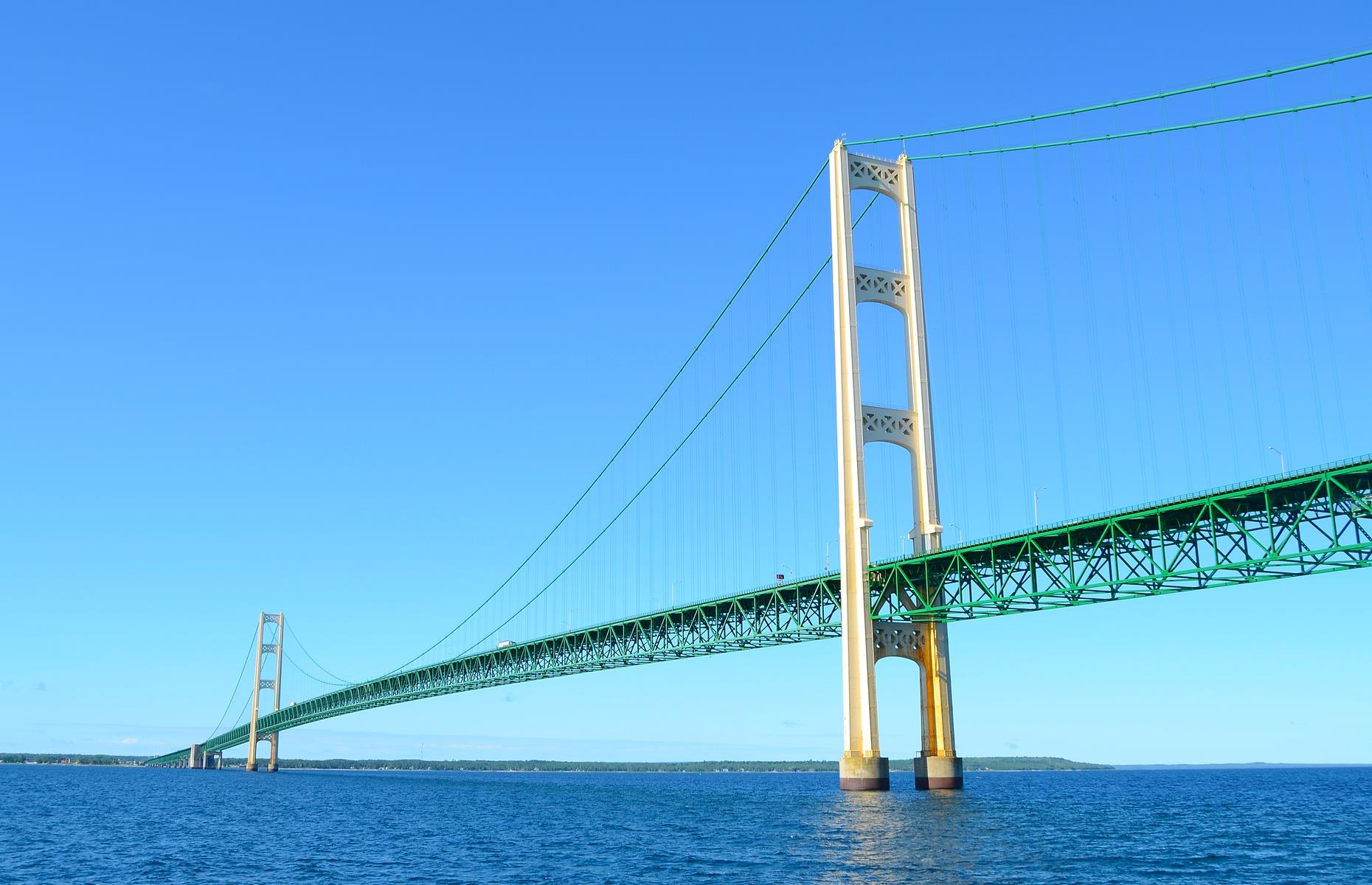 "Slide 24 of 52: Affectionately known as the ""Big Mac"", this mammoth suspension bridge stretches over the Straits of Mackinac. It was finished in 1957, connecting Michigan's two peninsulas. Spreading out over five miles (8km), its twin spans are a truly impressive sight."