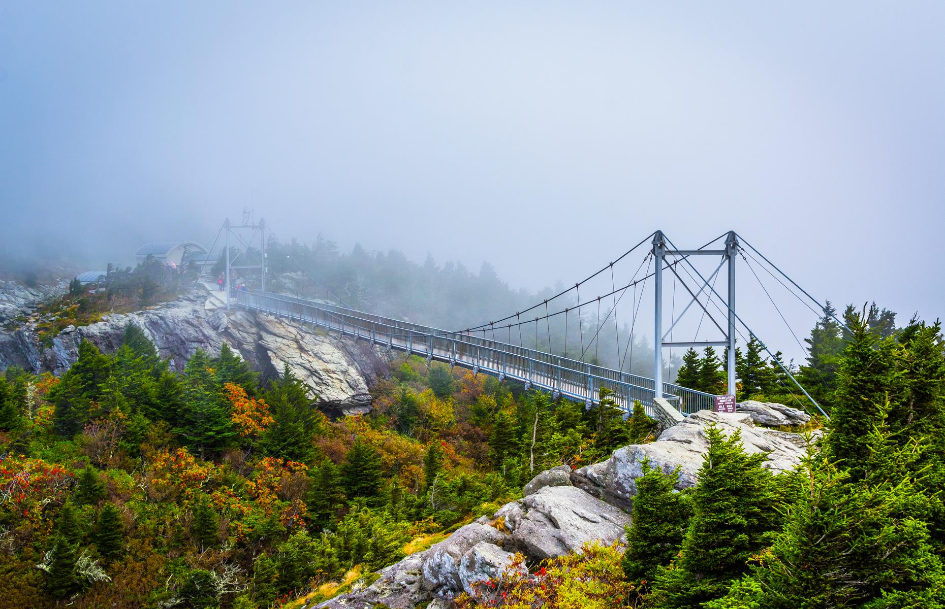 Slide 35 of 52: This sky-high bridge in Grandfather Mountain State Park is tipped as the highest suspension footbridge in the country. A mile (1.6km) above sea level, it sways with the slightest gust. It provides the foreground to the park's namesake mountain – a near 6,000-foot (1,829m) peak. Now check out the most wonderful views on Earth.