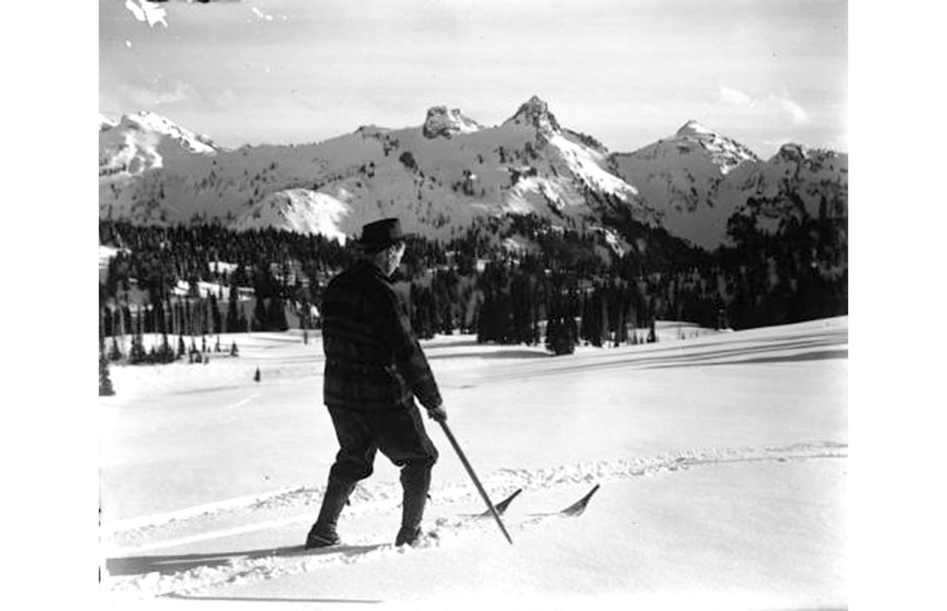 Slide 28 of 47: The rest of the park has long been a popular spot for those wanting to hit the slopes too, with historic ski resorts peppering the area. This keen skier can be seen in the powder right back in 1907.