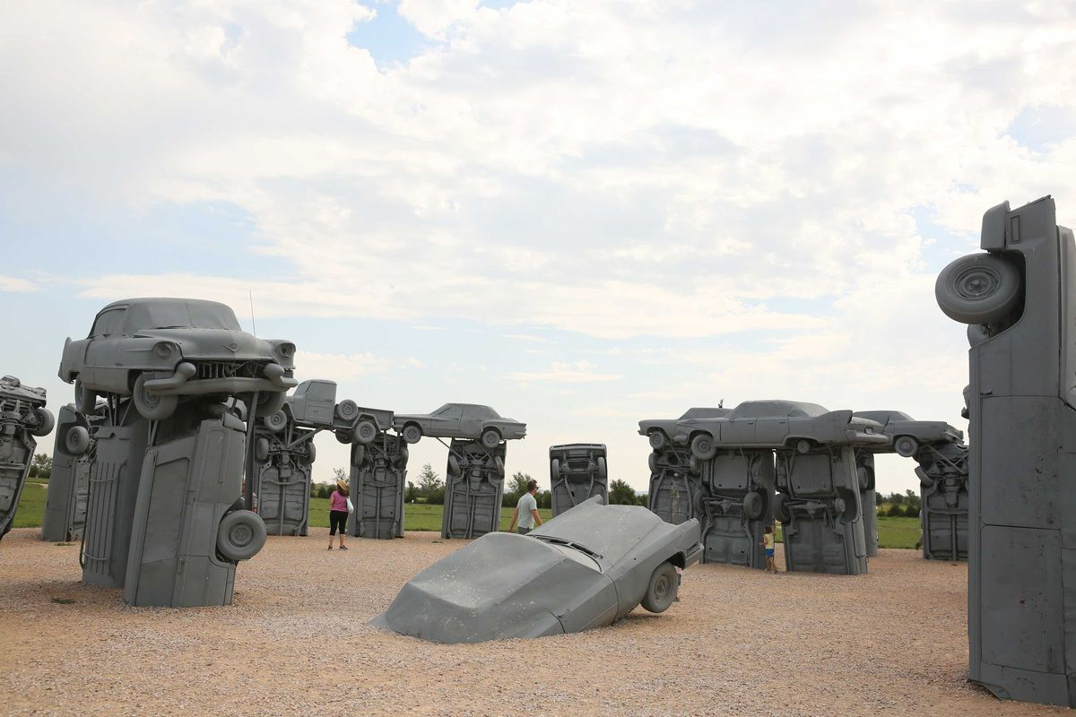 "Slide 28 of 51: CarhengeThe Carhenge is definitely a quirky and ""where else would I see this"" attraction. Spoofing the Stonehenge in England, the Carhenge, located north of Alliance, Nebraska on Highway 87 is made out of automobiles. Replicating the original stone version, 39 cars make up this masterpiece."