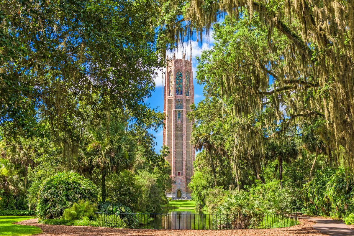 Slide 10 of 51: Bok Tower GardensLocated in Polk County, Florida, Bok Tower Gardens has 250 acres of lush gardens and a 205 foot tall tower with carillon bells. It's relaxing and beautiful, which was the intention of creator Edward W. Bok, former longtime editor who desired to create a bird sanctuary while spending the winter in Florida. From subtropical temperature and plant bushes, visitors can spot up to 126 species of birds.
