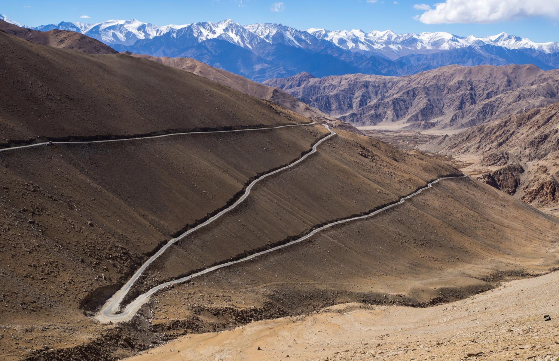 Slide 30 of 44: The Khardung La or the Khardung Pass was built in 1976 on the Ladakh Range to the north of Leh in the Indian state of Jammu and Kashmir. With a height of 17,582 feet (5,358m), travelers plying this lofty road that traverses past some startling Himalayan scenery can suffer from altitude sickness. With sheer drops, numerous hairpin turns and extreme weather to contend with too, this is a road to approach with caution. It's closed from October to May due to dangerous weather conditions.