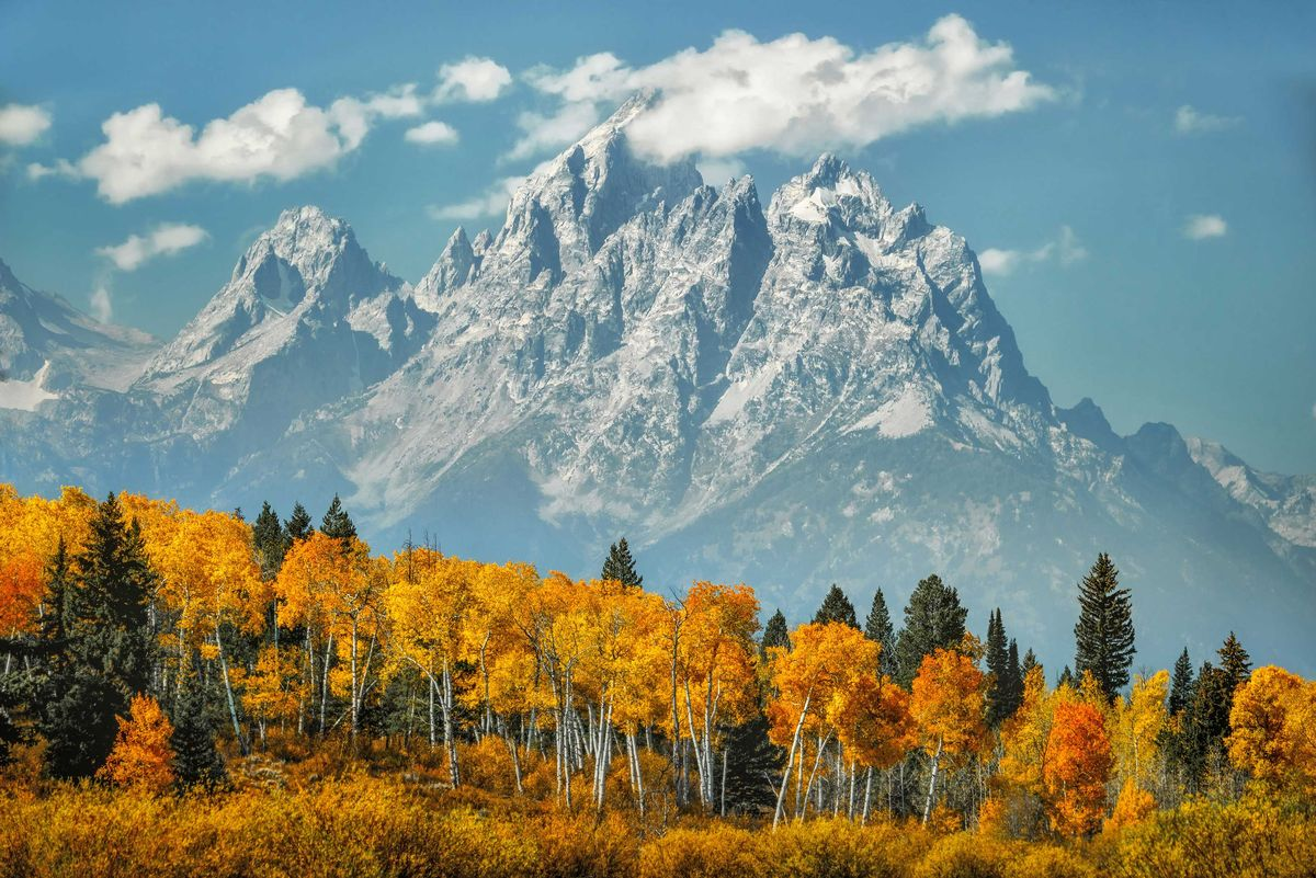 Slide 51 of 51: Grand Teton National ParkGrand Teton National Park in Northwestern Wyoming spans 310,000 acres of unbelievable country from mountain ranges to clear blue lakes. The park's next door neighbor is Yellowstone, the world's first National Park.