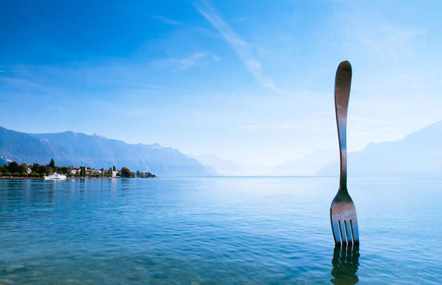 Slide 36 of 36: The record holder for the world's tallest fork, this 26-feet-tall (8m) art installation is almost as popular a tourist attraction in the Swiss town of Vevey as Charlie Chaplin's statue. The Fork was initially created for the 10th anniversary of Alimentarium, a Vevey-based museum with a permanent exhibition on food and the history of Nestlé. It was removed in 1996, however, following a public petition it was reinstated about a decade later.