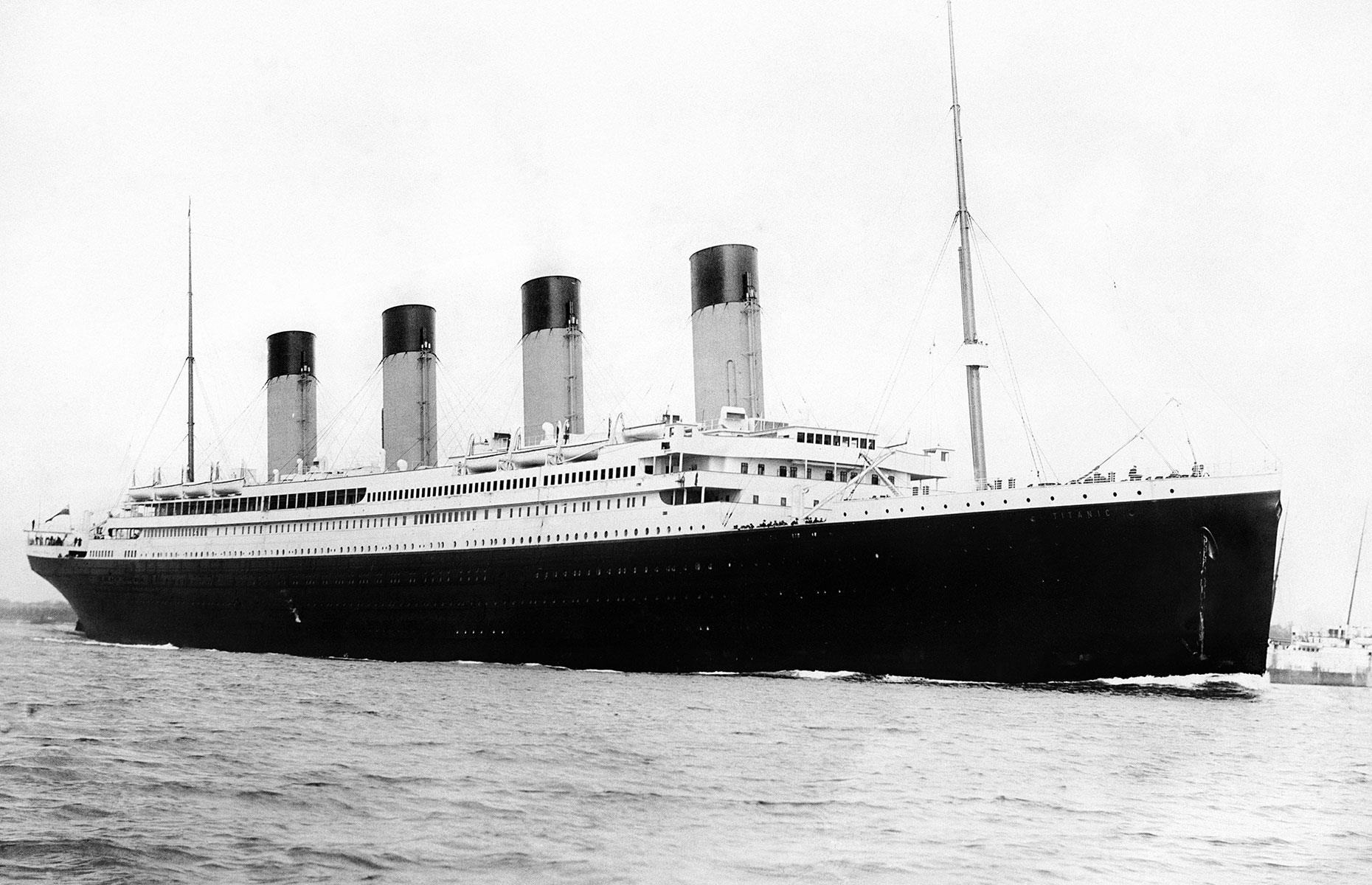 Slide 1 of 46: When the RMS Titanic leftSouthampton, Englandon 10April 1912 bound for New York, she was the largest ocean liner afloat and thoughtto be unsinkable. More than a ship, the Titanic was a symbolof the wealth, extravaganttastes and engineering skillof the Edwardian age. But the liner'scollision with an iceberg in the North Atlantic on 14 Apriland theloss of over 1,500 livesmarked the end of an era. Today, 108 years on,the Titanic's story continues to captivate. Here, using beautiful period images,welook at what life was really like on the most famous and ill-fatedvoyage in history.