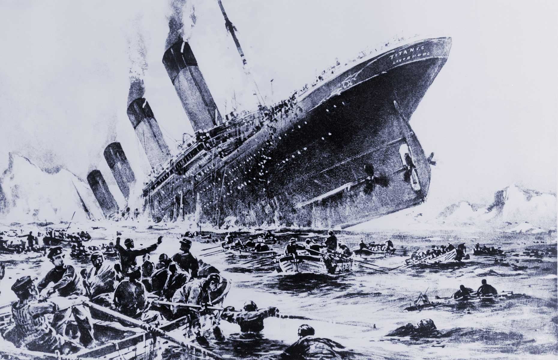 """Slide 30 of 46: Sadly all this opulence was destined to meet a watery end when, at 11.40pm on 14 April, the Titanic collided with an iceberg. Frederick Fleet, the Titanic's lookout was one of the first to spot the iceberg, raising the alarm with the words """"iceberg right ahead"""". Frederick was relying on his eyes only as the Titanic's binoculars were locked away in the crow's nest, the Titanic's lookout point."""