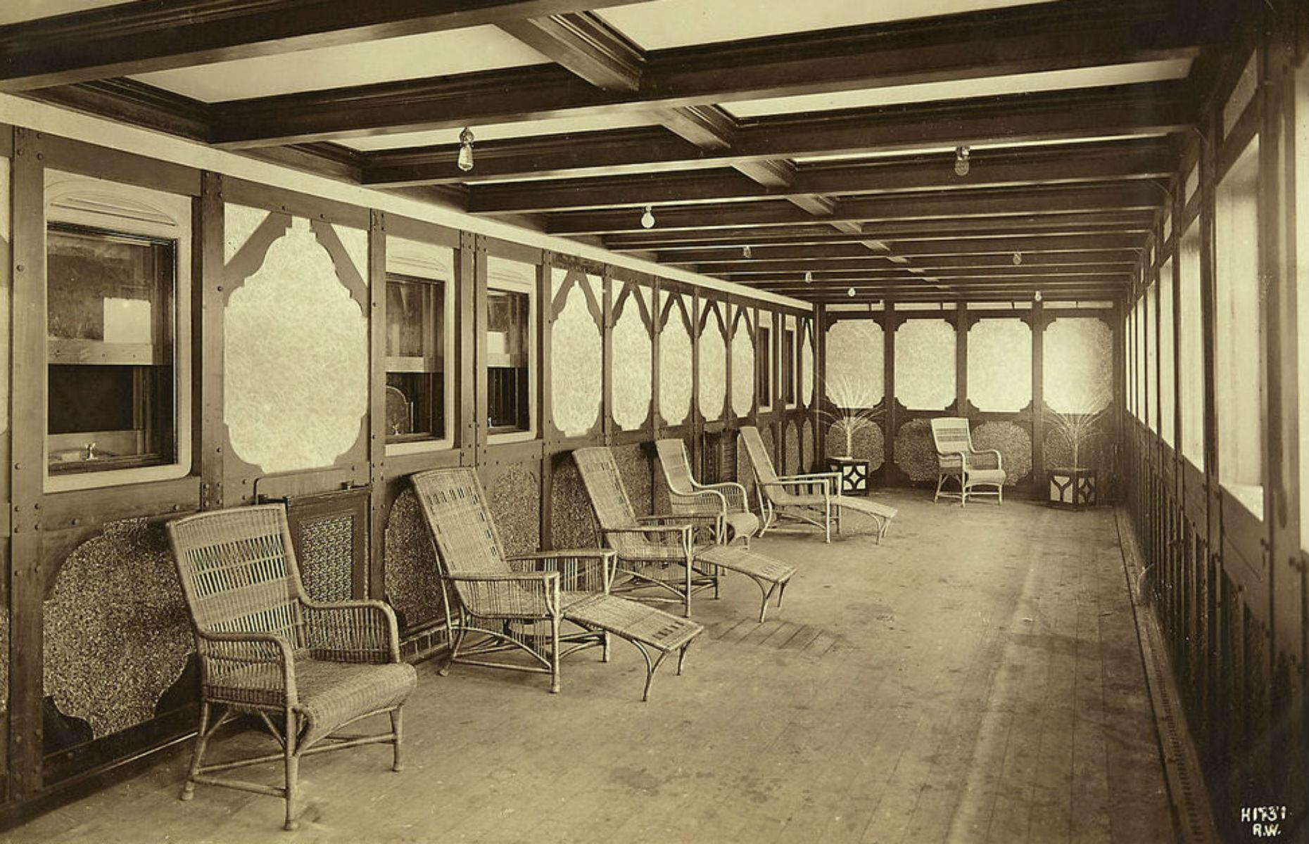 Slide 19 of 46: Those staying in one of the four parlor suites had access to one of two private interior promenades. These measured 50 feet (15m) in length and were styled in a wooden Tudor design. They were on either side of the Titanic, offering exclusive views.