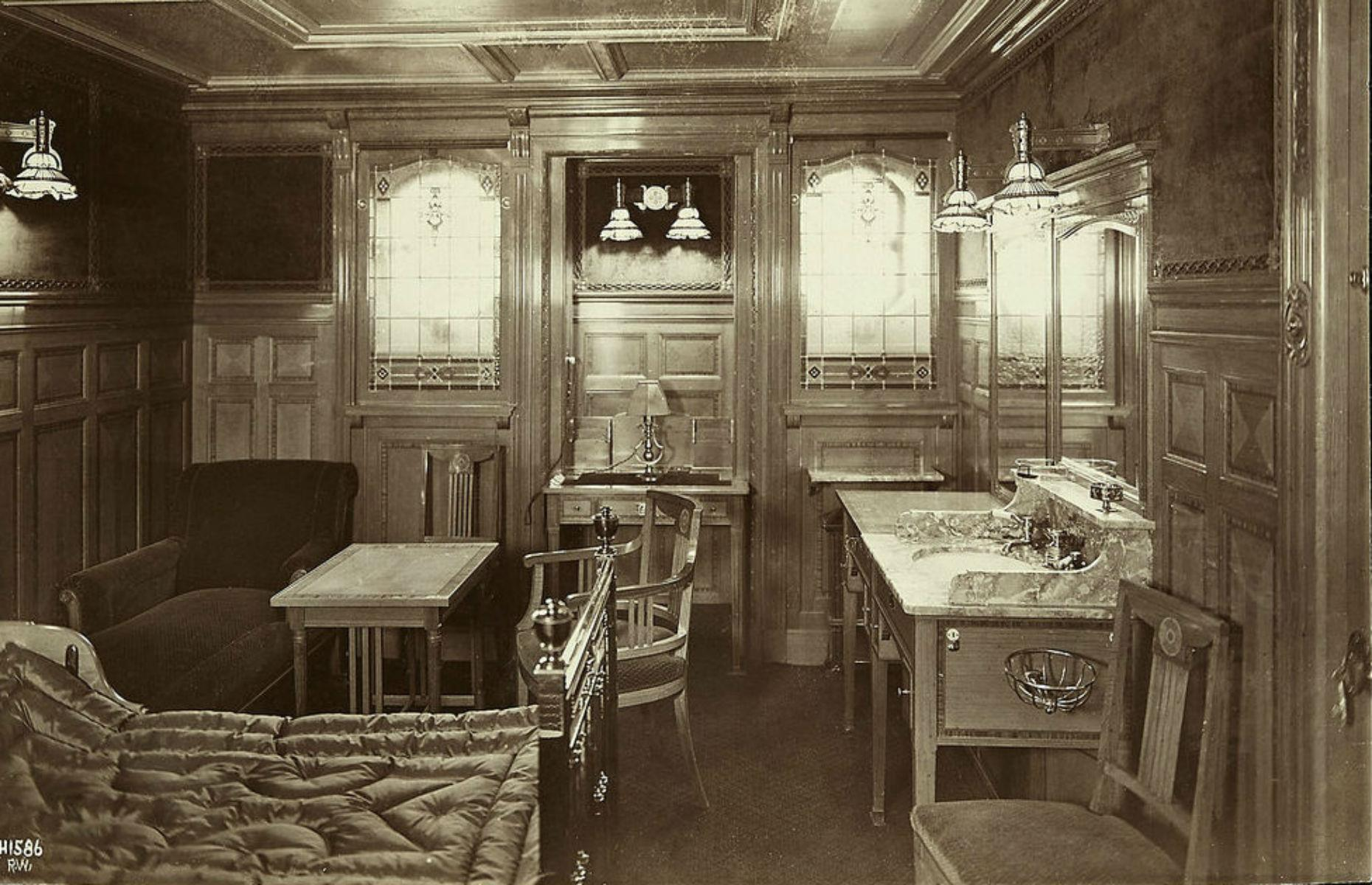 Slide 17 of 46: The most expensive rooms onboard were the four parlor suites located on B deck. Each had a lounge, two bedrooms, two closet rooms and a private bathroom and toilet. They offered the latest in modern electrical appliances including telephones and heaters.