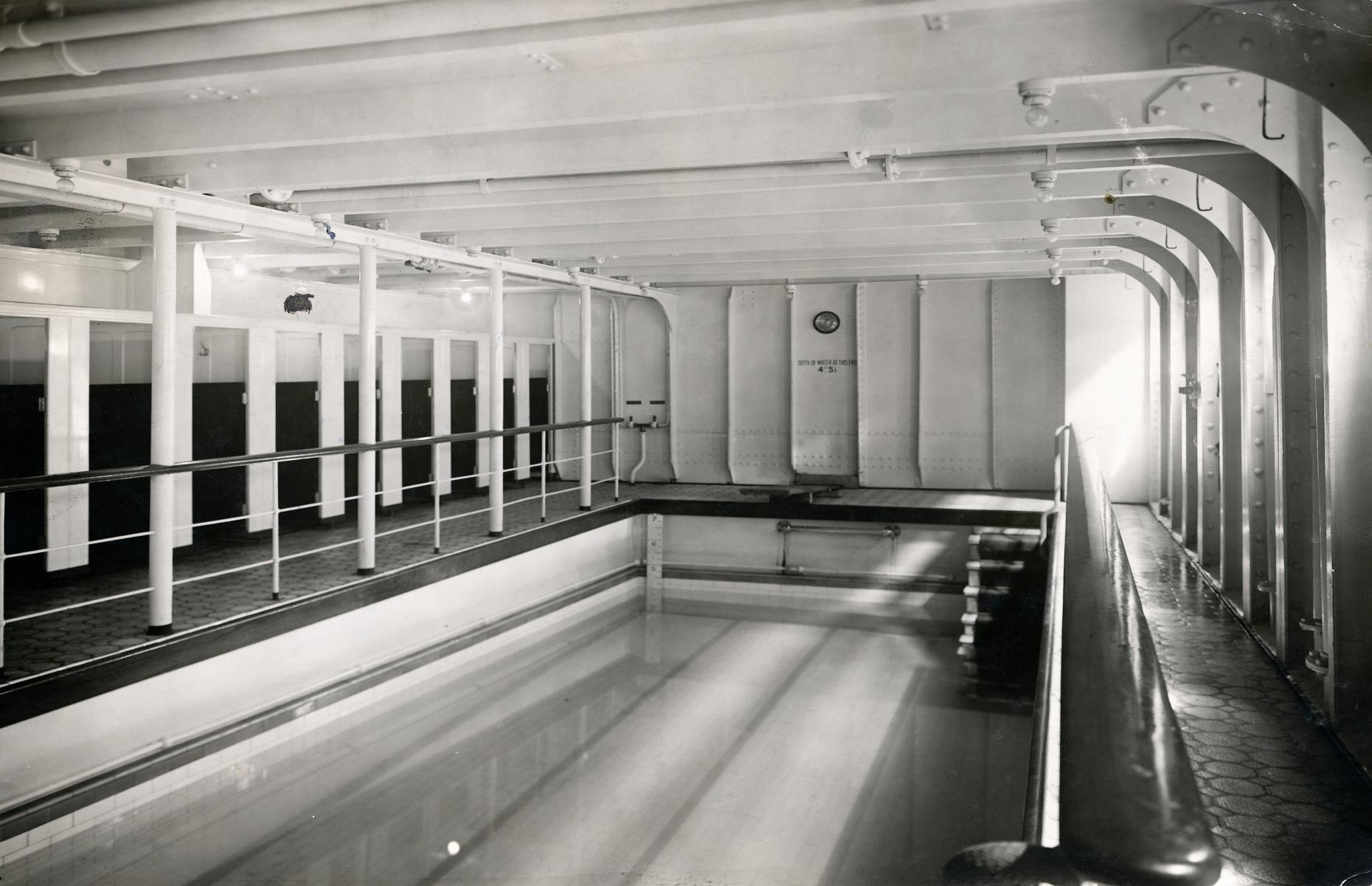 """Slide 14 of 46: Located in the middle deck, alongside the Turkish Baths, was an impressive swimming pool for first-class passengers only. A novel feature for the time the """"swimming bath"""" was 30 feet (9.14m) long and 14 feet (4.3m) wide and filled with heated saltwater which was pumped into the pool from the sea, via a tank. The bath was available for ladies between 10am and 1pm and for men from 2pm to 6pm."""