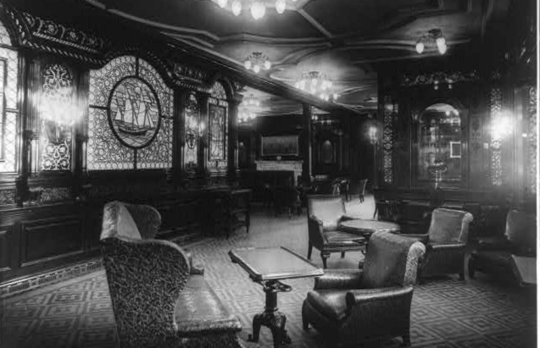 Slide 15 of 46: This first-class smoking room on RMS Olympic (pictured) would have been similar to the Titanic's. While ladies retired to the reading and writing room after eating – they were forbidden entry – male passengers went to the smoking room for cards and Scotch. Now discover the tragic story of the Titanic's lost sister ship too.