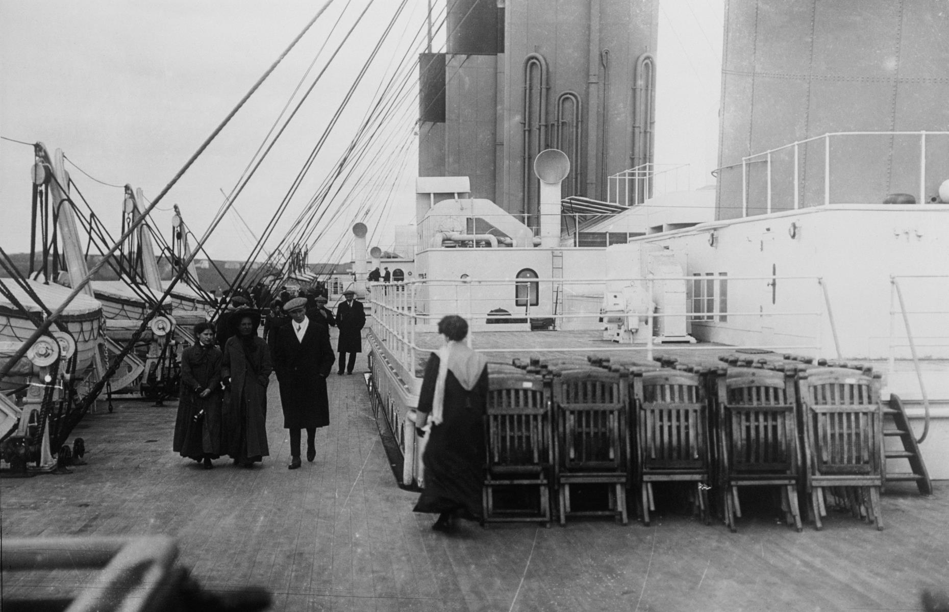 Slide 26 of 46: Second class passengers did have access to three promenade areas where they could relax or take a stroll around the deck. Passengers could rent one of the ship's wooden deck chairs for three shillings or $1 dollar per person for the whole voyage.