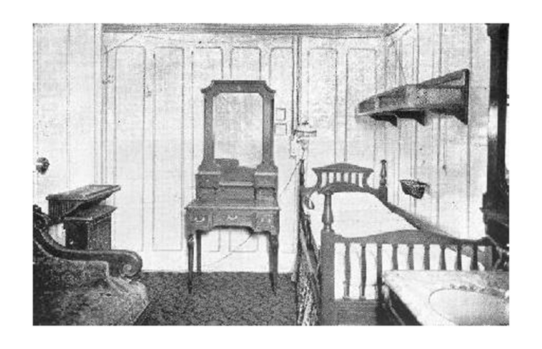Slide 20 of 46: First-class cabins were not furnished identically, but decorated in different styles including Queen Anne and Louis XV. And not every cabin in first class was as luxurious as you might think. This is stateroom B-21 which came complete with a single bed and sink. Some first-class staterooms even had shared bathrooms.