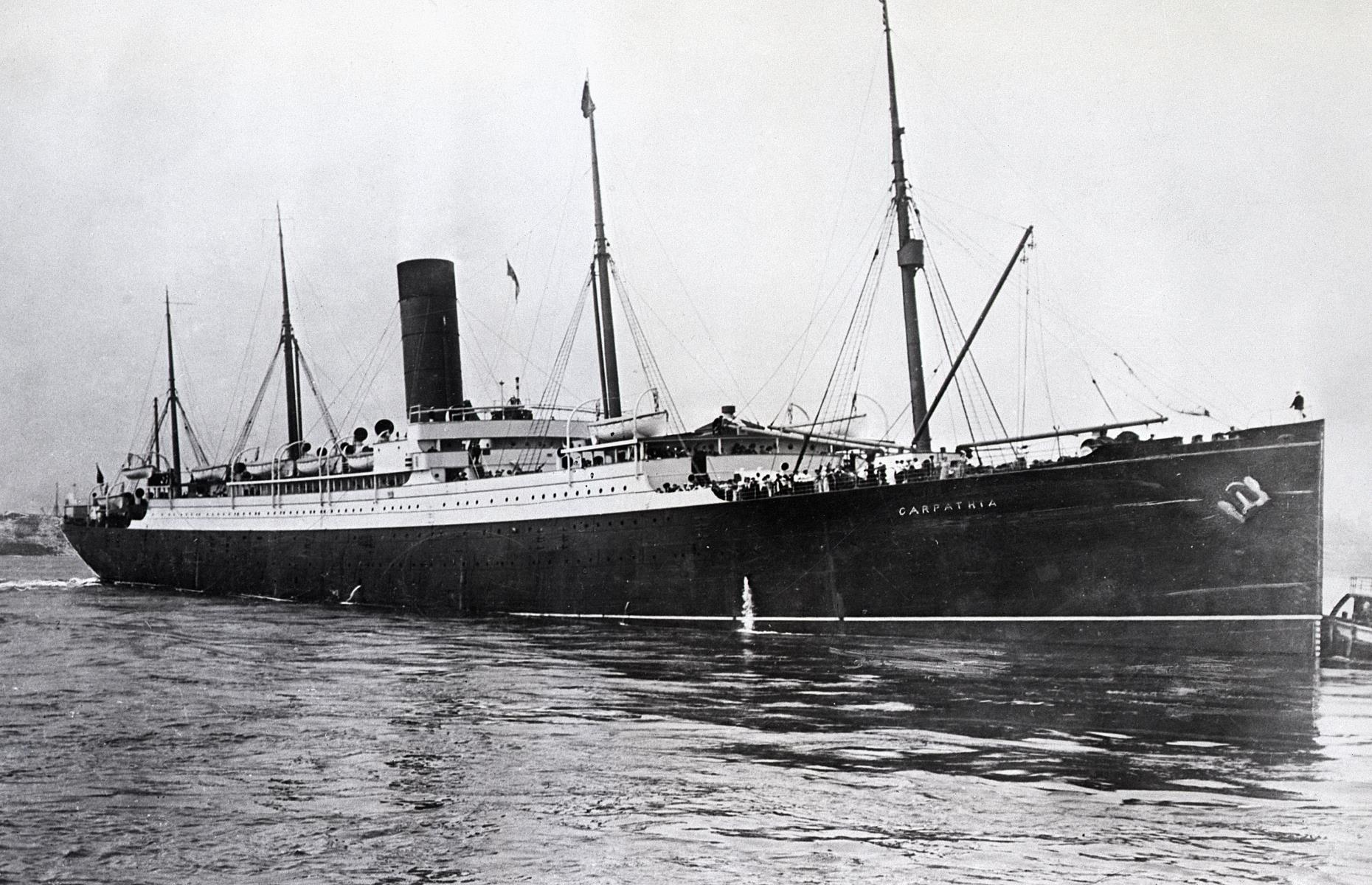 Slide 34 of 46: While the Titanic had sent multiple distress signals it was Cunard's ship Carpathia which came to the rescue of survivors, taking them to New York. However, the Carpathia couldn't reach the scene until 4am, four hours and 20 minutes after the Titanic struck the iceberg. It took a further four hours to get survivors from the lifeboats onto the Carpathia. Six years later in July 1918, the unlucky Carpathia met her own terrible end too, sinking during the First World War after being torpedoed by a German U-boat.