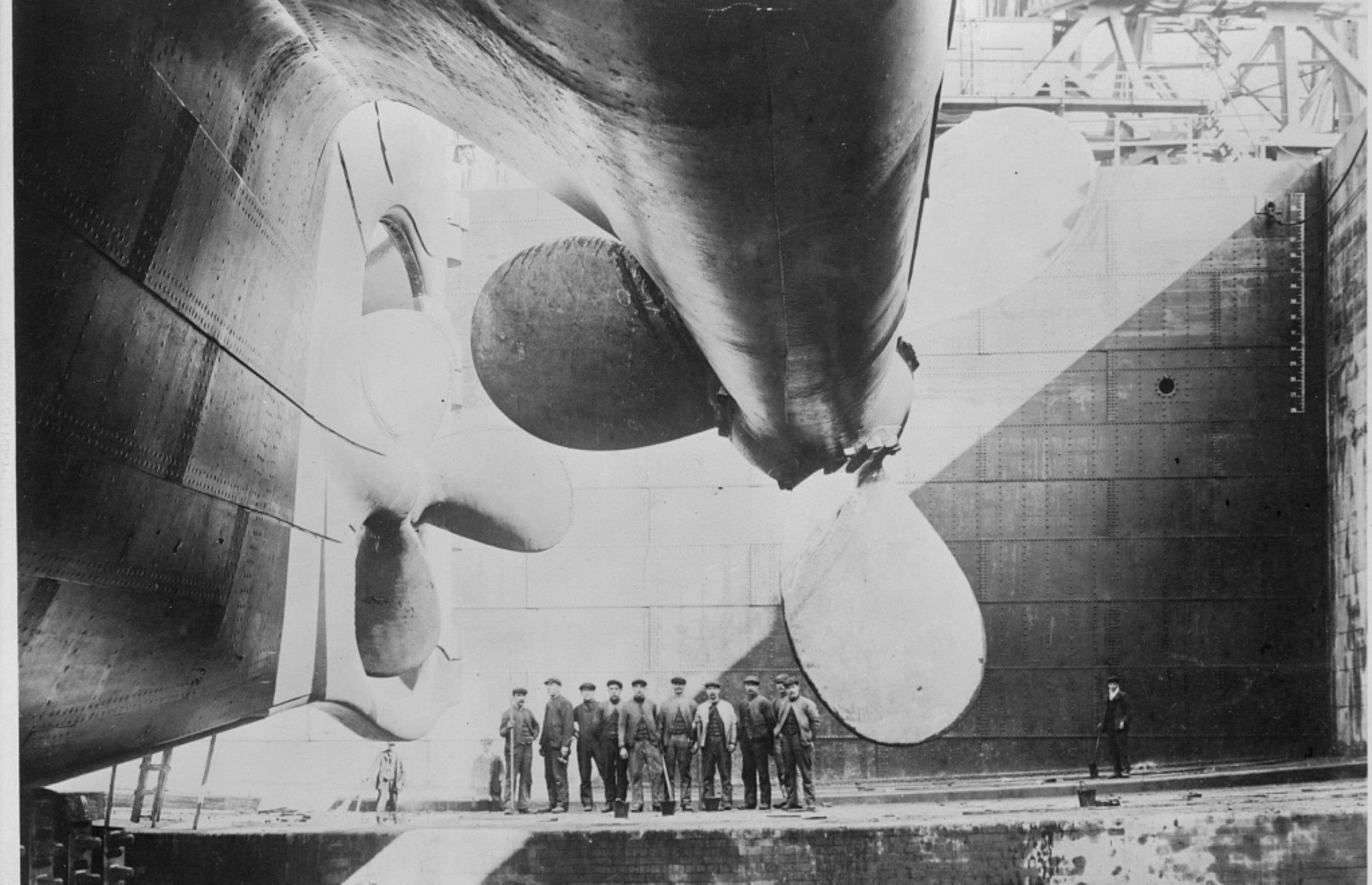 Slide 4 of 46: The cost of creating the Titanic wasn't just financial. Eight workers were killed between the keel being laid and her first launch, and 246 injuries were recorded during her construction. The Titanic's 26,000-ton hull was launched on 31 May 1911 ready to be fitted out, with the propellers added later.