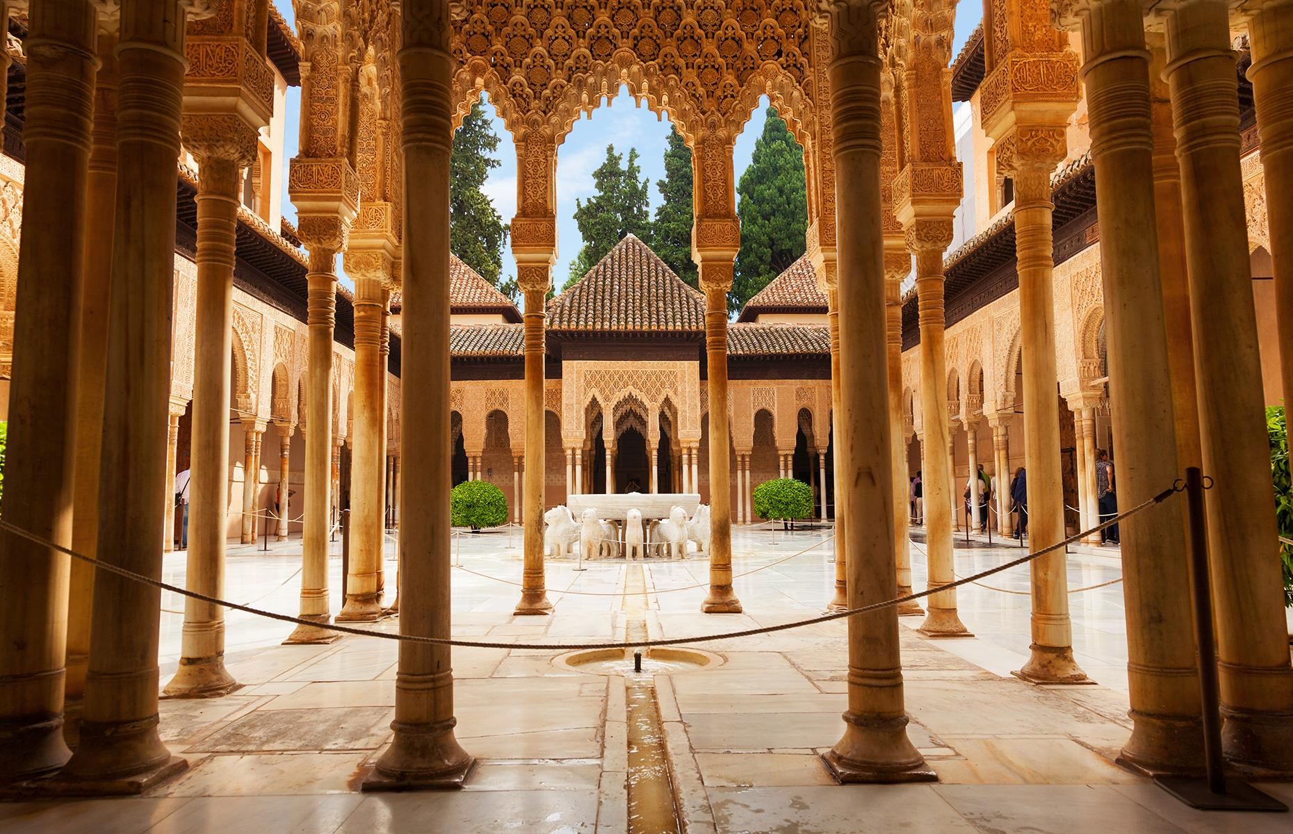 Slide 52 of 53: The Alhambra served as a royal palace and its exquisite gardens are home to many beautiful walkways and fountains. A palace and fortress complex rather than an individual stately home, Alhambra consists of a royal complex, several courts and halls and a collection of outlying buildings.Discover more secrets of the world's incredible castles