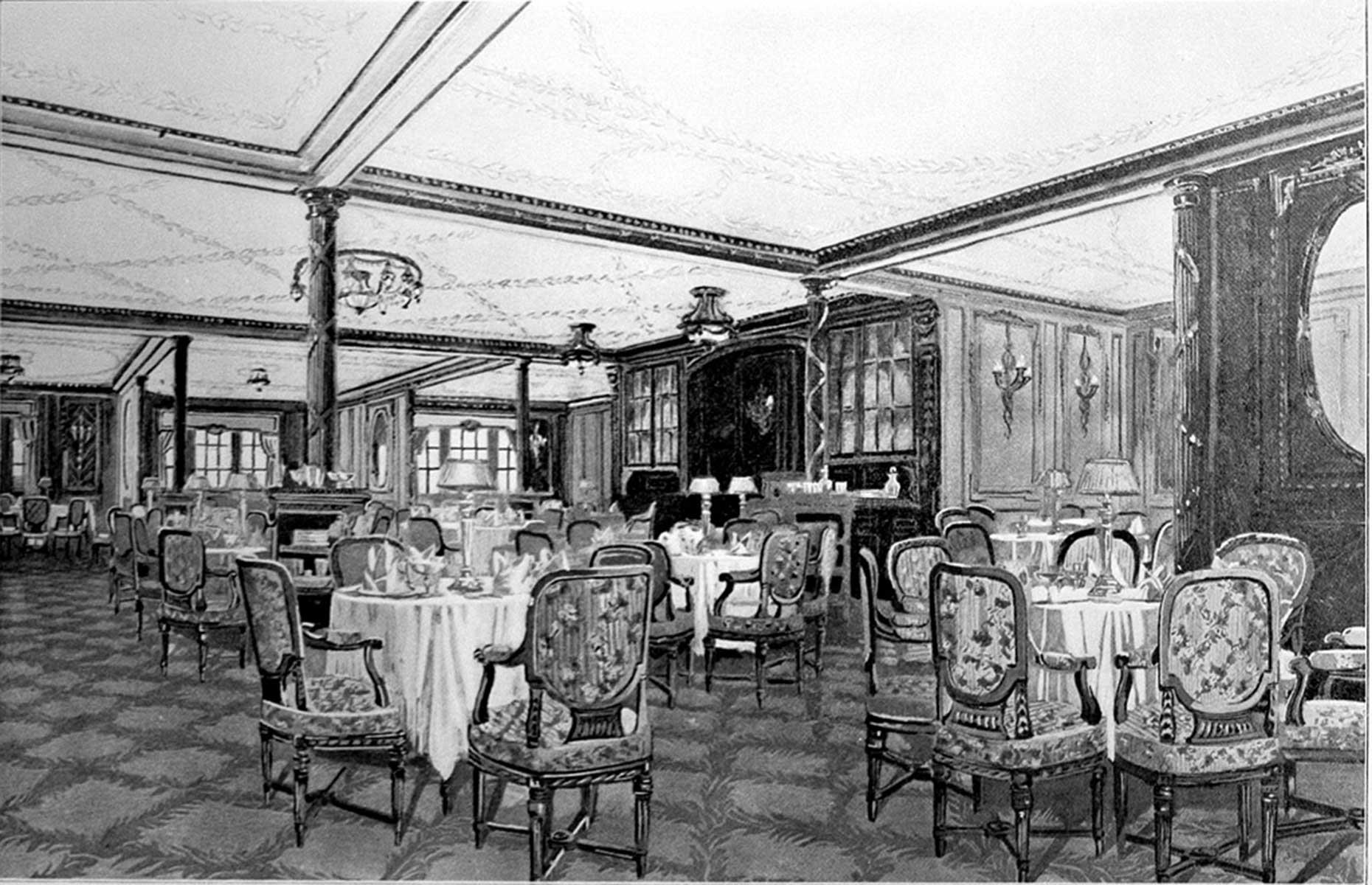 """Slide 10 of 46: For an extra cost, first-class passengers could also book to dine at restaurateur Luigi Gatti's intimate à la carte restaurant nicknamed the """"Ritz"""". Gatti had been poached from upmarketOddenino's Imperial Restaurant on Regent Street, London to run the Titanic's high-end spots.The elegant space was fully carpeted with French walnut-paneled walls and picture windows. Small tables were lit by crystal lamps and guests could eat any time between 8am and 11pm, which made it a popular choice."""
