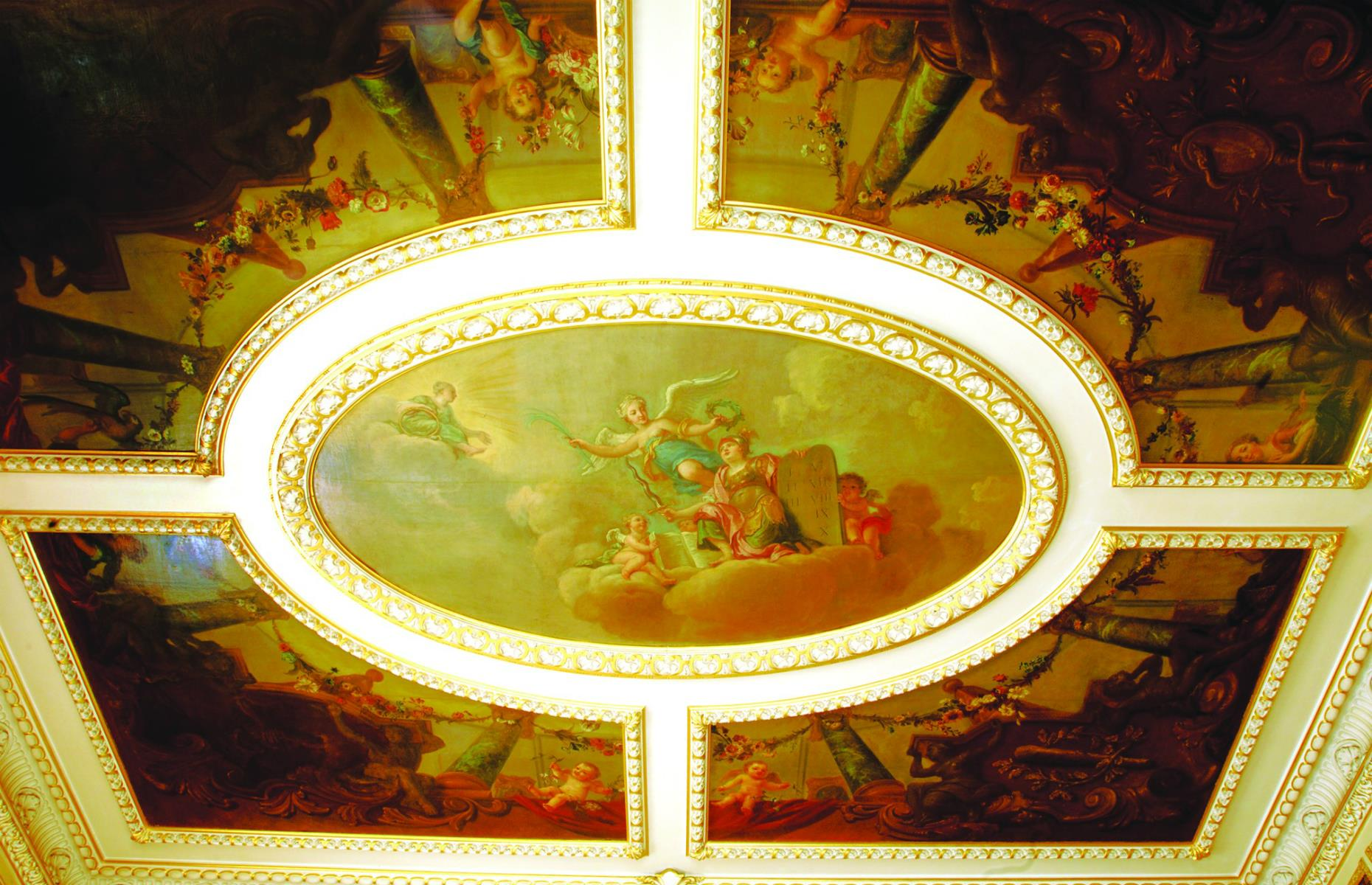 Slide 17 of 53: The castle's 200-plus rooms are filled with antiques and enchanting details, such as the frescoed ceiling in the Music Room. The incredibly detailed scenes, painted by Francis Hayman in 1740, depict Athena, goddess of many things including war, wisdom and the arts.
