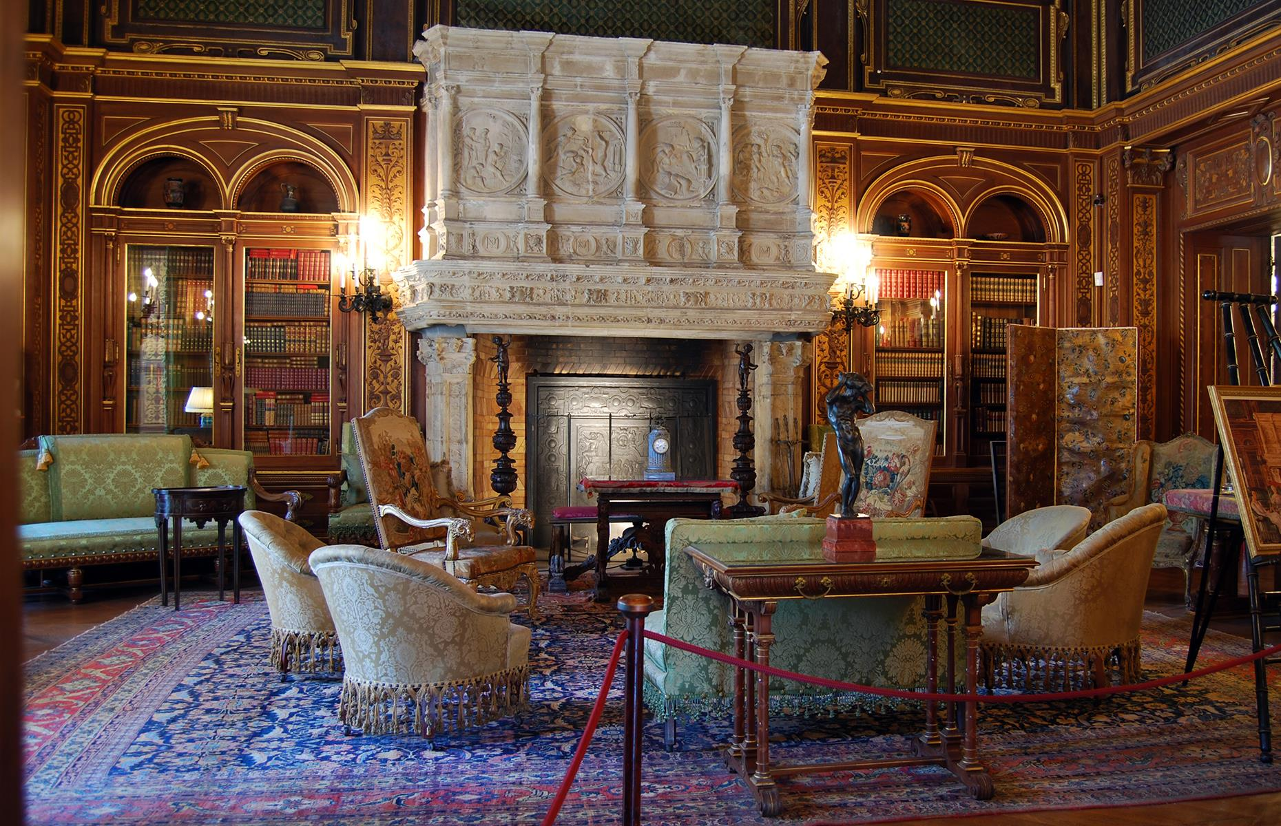 Slide 37 of 53: The mansion features 70 rooms with a total floor space of 62,484 square feet (5,804sqm) arranged over five floors. The dazzling Morning Room, for instance, was built by artisans in France, shipped to the US and assembled on-site, and is adorned with wall panels made from pure platinum.