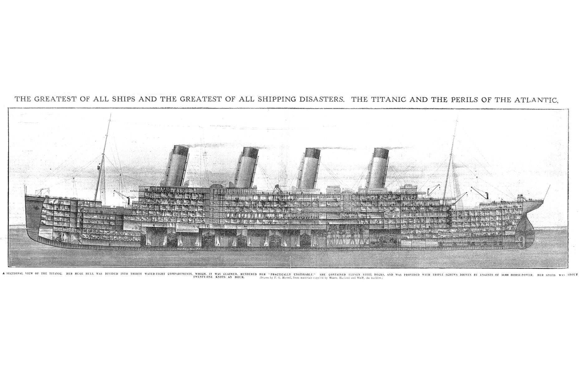 Slide 31 of 46: Captain Smith ordered the doors to the 16 watertight bulkheads to be shut. The Titanic could stay afloat if four of these compartments were full. But with over 100-feet (30m) of the ship opened up to the sea, six had flooded, including one of the boiler rooms. The walls of the compartments didn't extend far enough up the ship to prevent the water flooding into the next section. Within three hours of striking the iceberg shehad sunk.